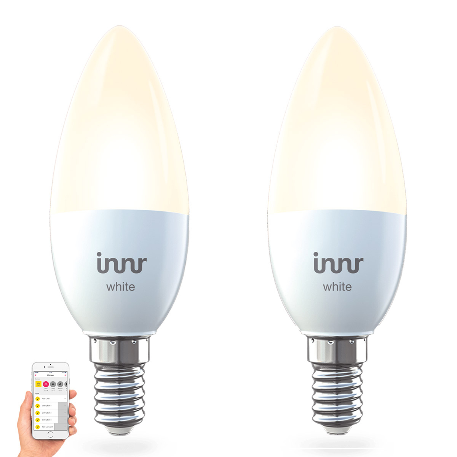 E14 5,3 W LED lamp Innr Smart Candle white, per 2