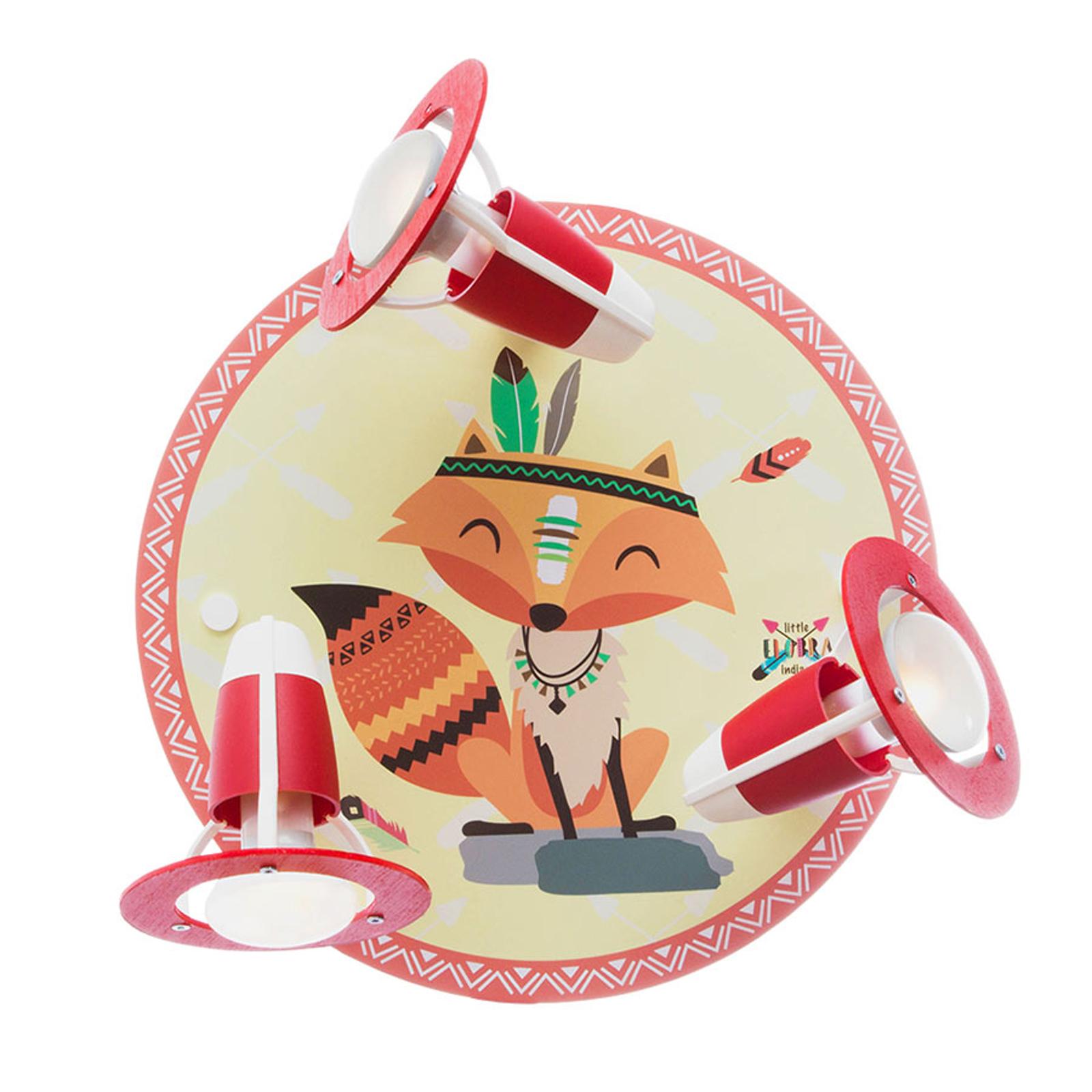 Vägglampa Little Indians, räven Filip, gul-röd