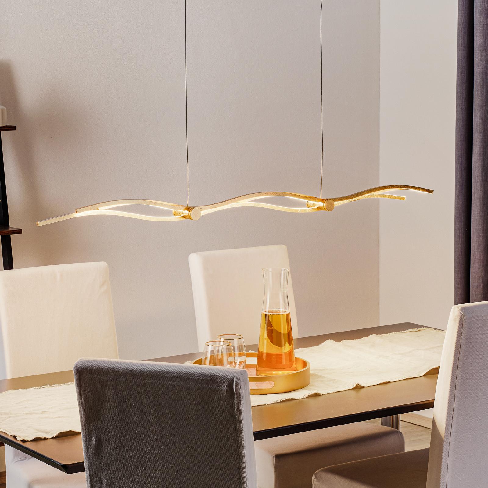 Suspension LED Silk feuilles d'or 120cm