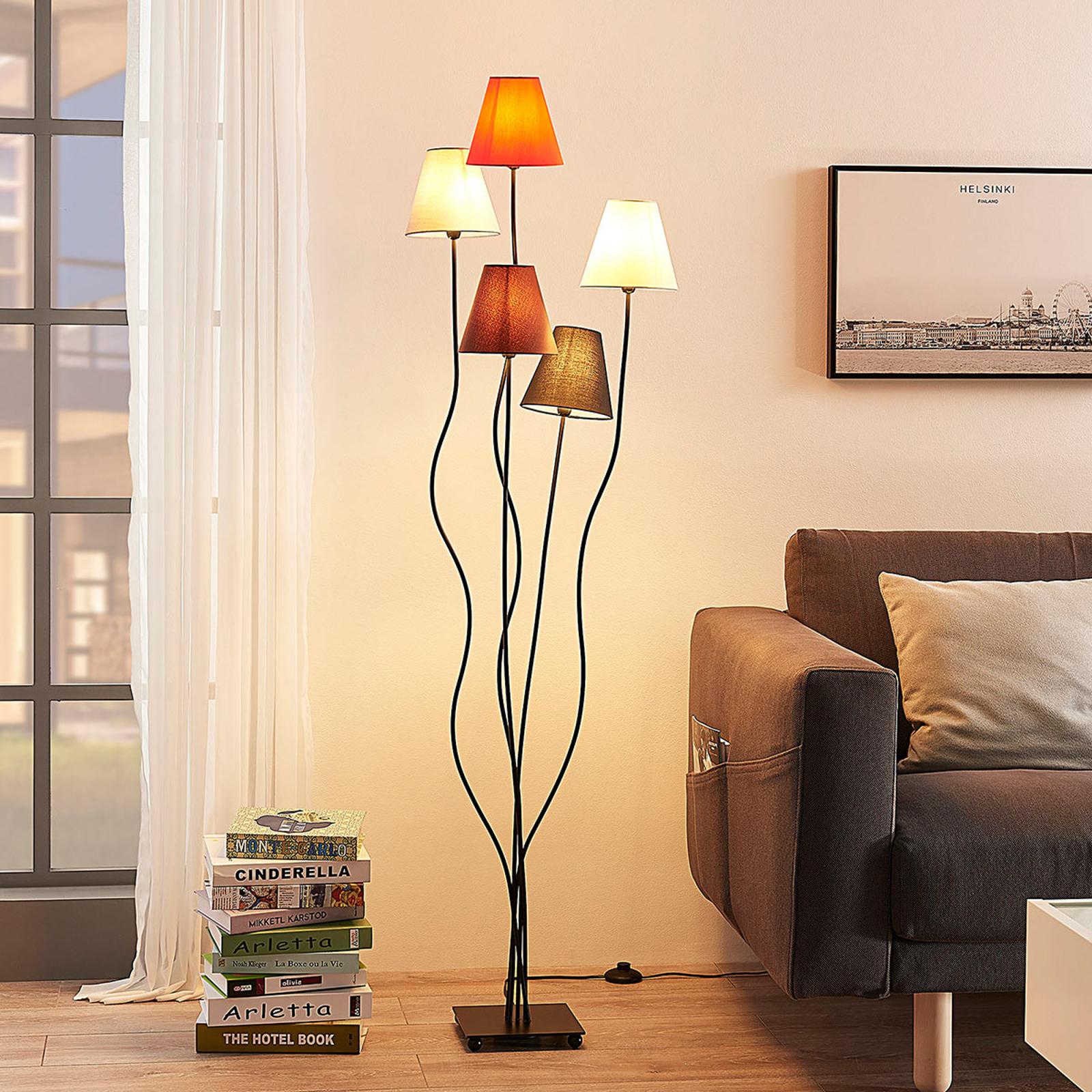 Melis - 7-flammige Stoff-Stehlampe fürs Wohnzimmer