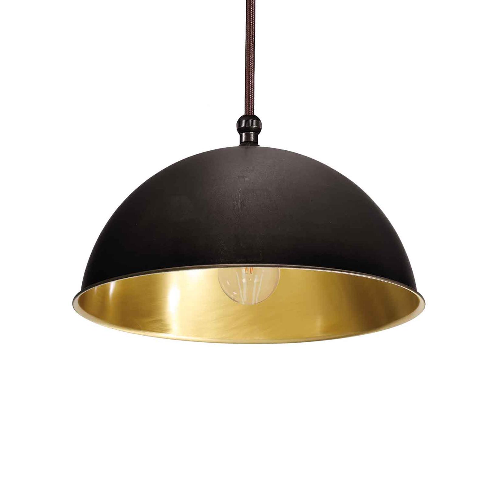Cirkel hængelampe gylden/blåneret messing, Ø15 cm