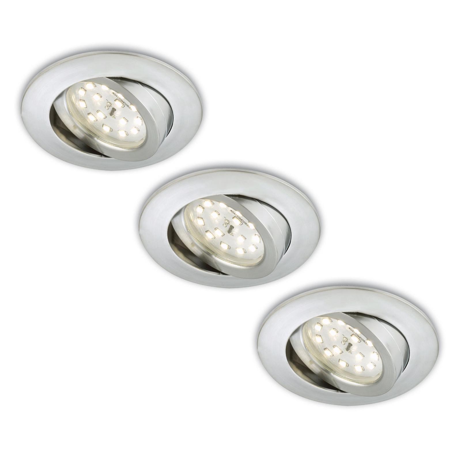 Erik-LED-uppokohdevalo, 3 kpl – käännettävä, alu
