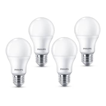 Philips E27 LED-Lampe A60 8W 2.700K matt 4er Pack