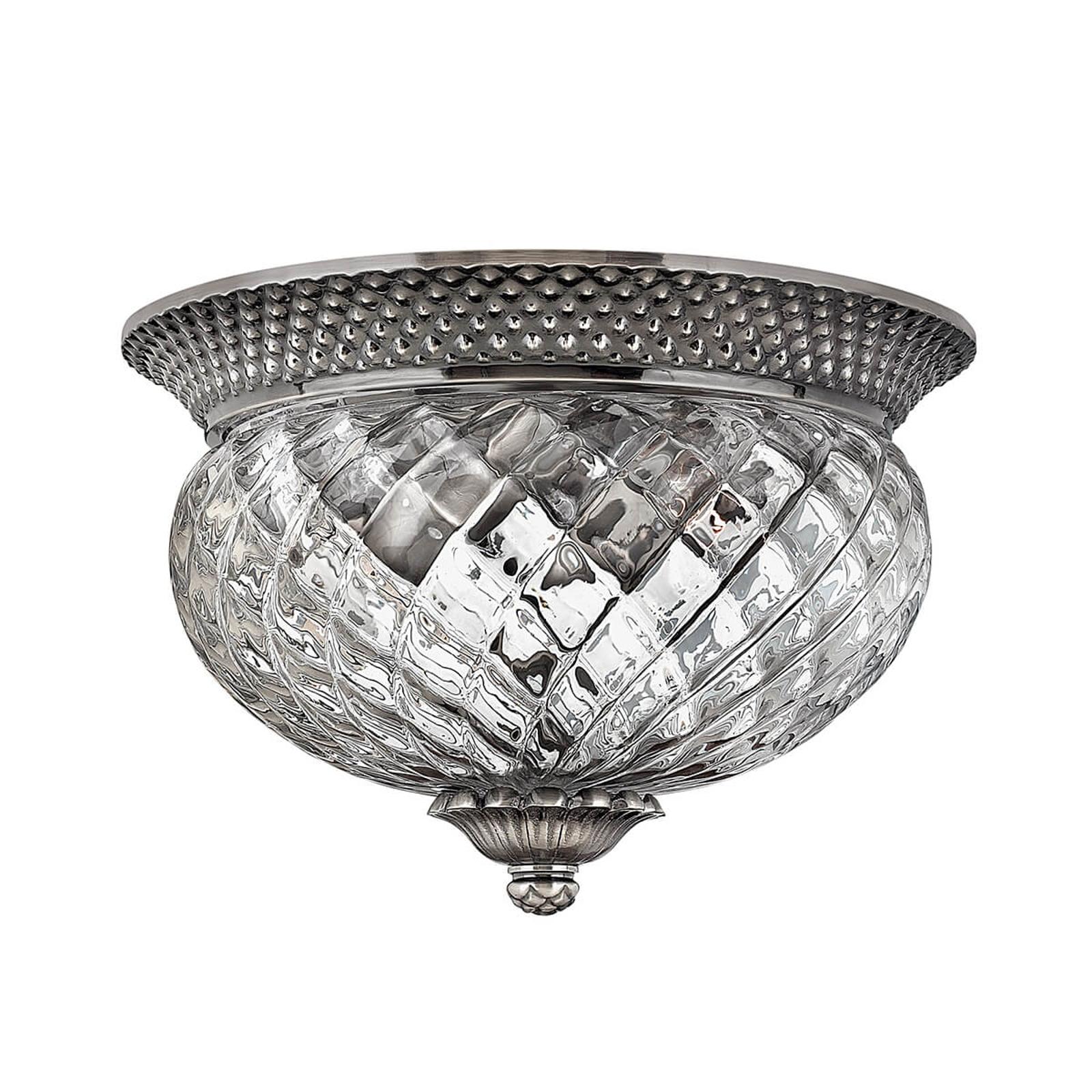 Plafondlamp Plantation antiek nikkel, 30,5 cm