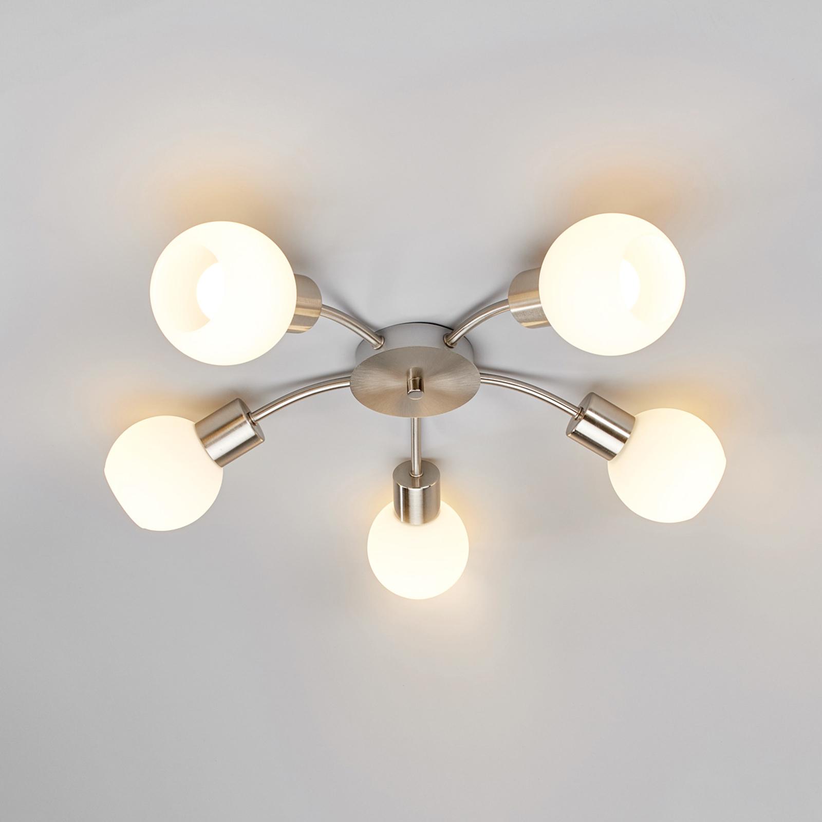 Rund LED-taklampe Elaina med fem lys, matt nikkel