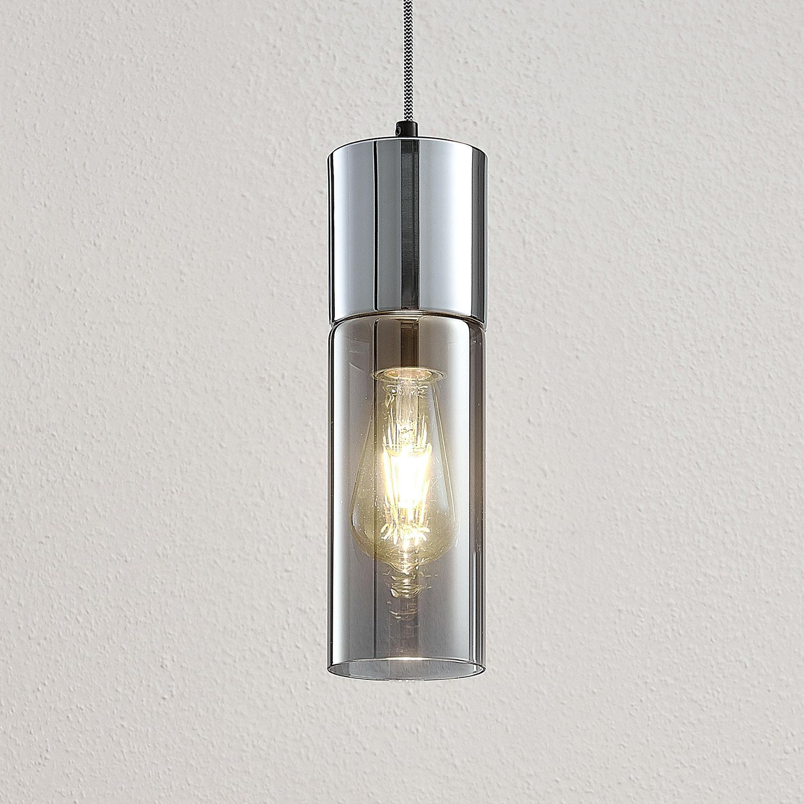 Lampa wisząca Eleen z cylindrami ze szkła dymnego