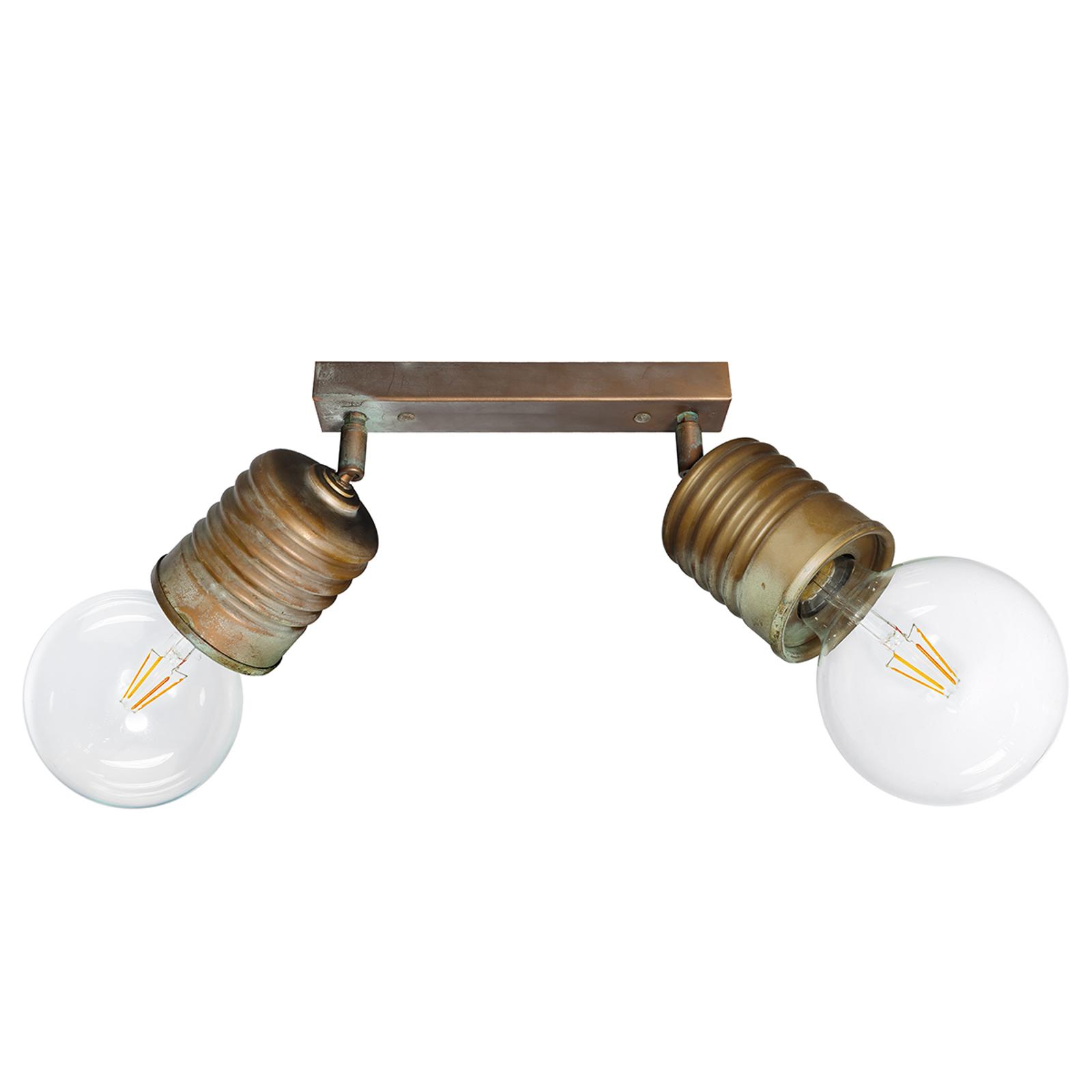 Lampada da soffitto a due luci Orti stile vintage