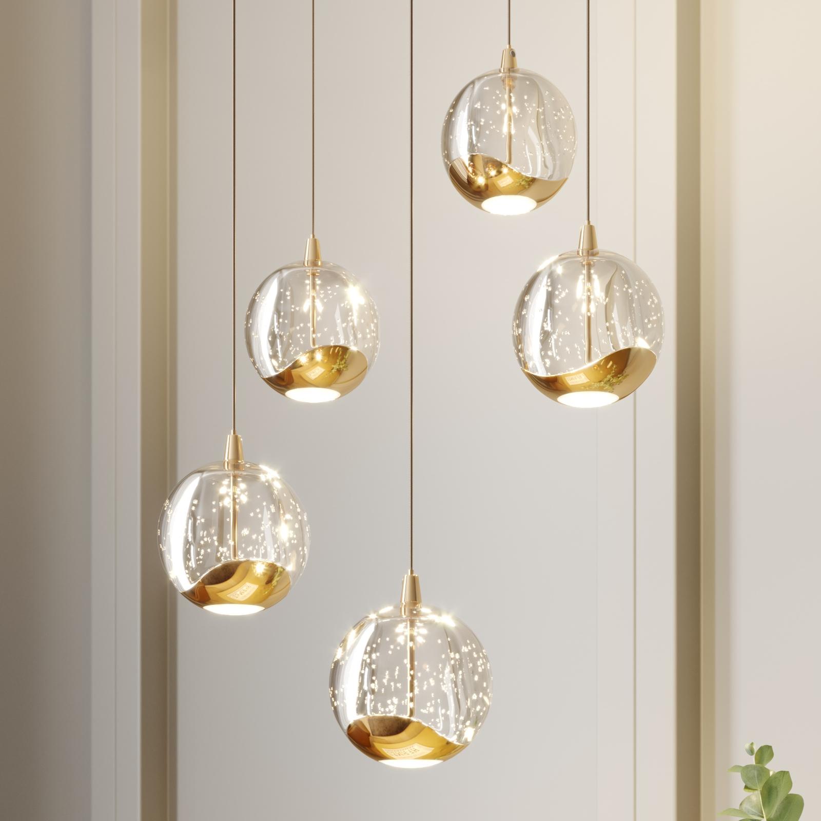 LED-pendellampe Hayley, 5 lyskilder, rund, gull