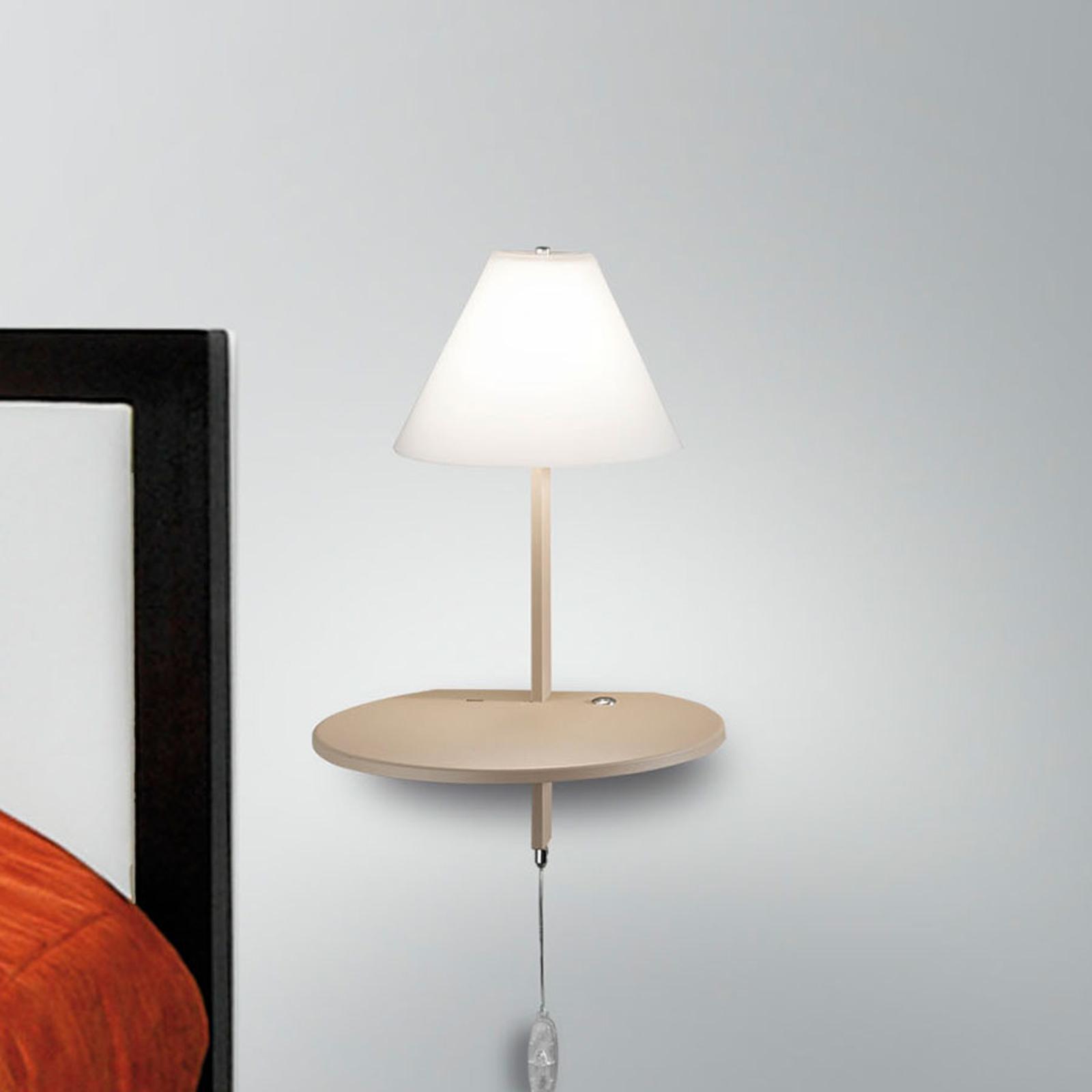 LED wandlamp Goodnight, USB-poort, wit-taupe
