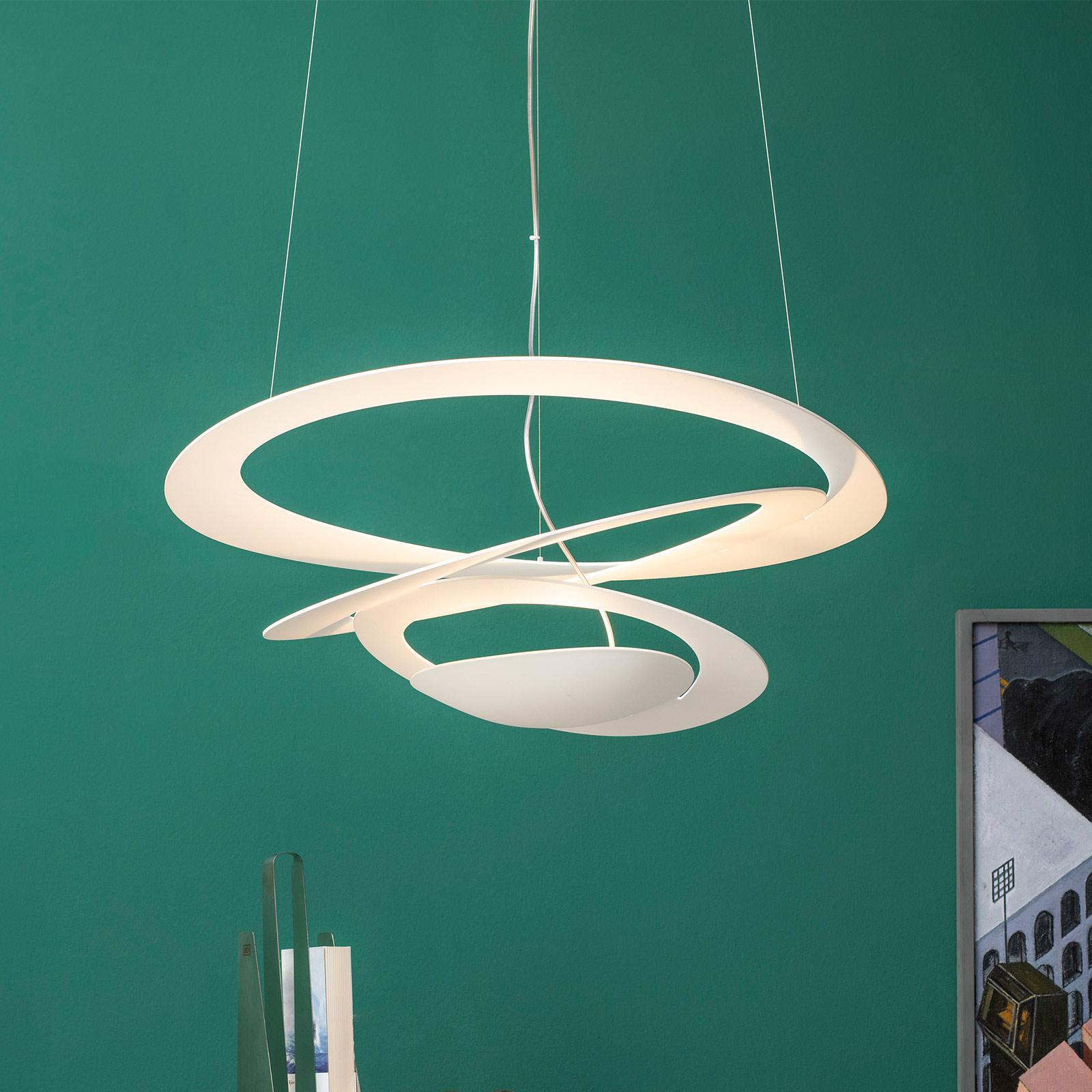 Valkoinen LED-design-riippuvalaisin Pirce Micro