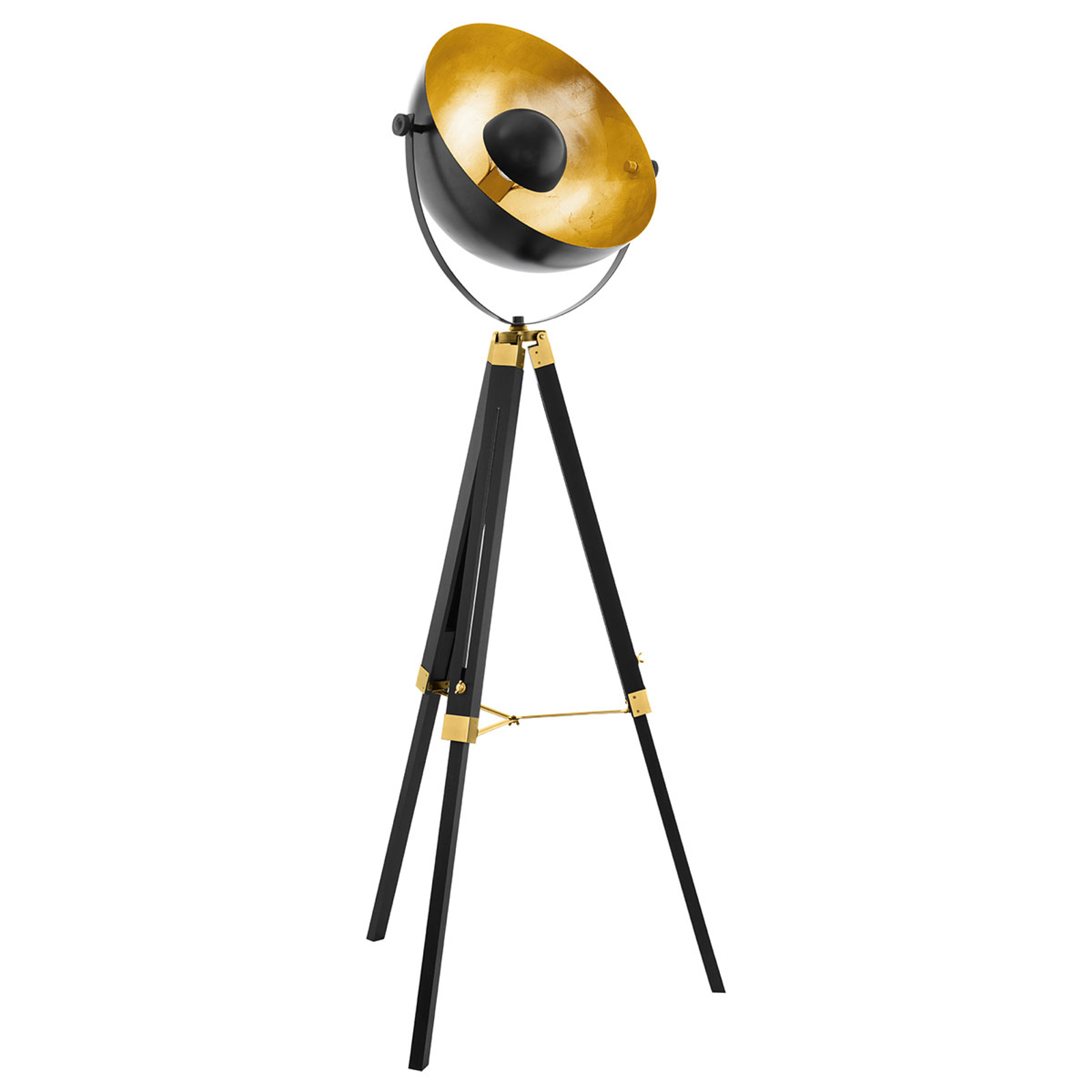 Golvlampa Covaleda med trebent stativ svart/guld