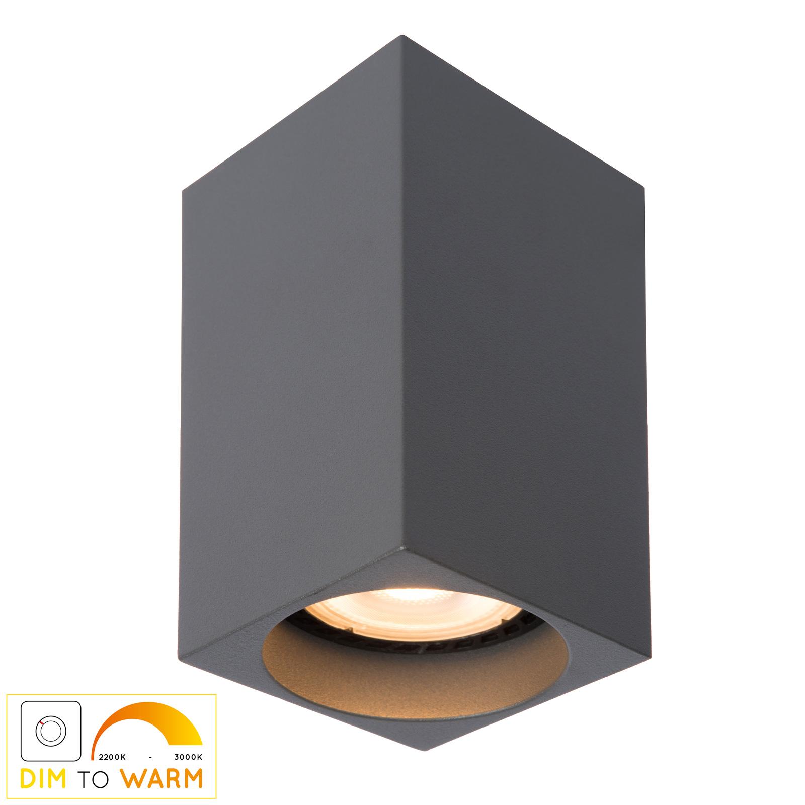 LED plafondlamp Delto dim to warm, hoekig, grijs