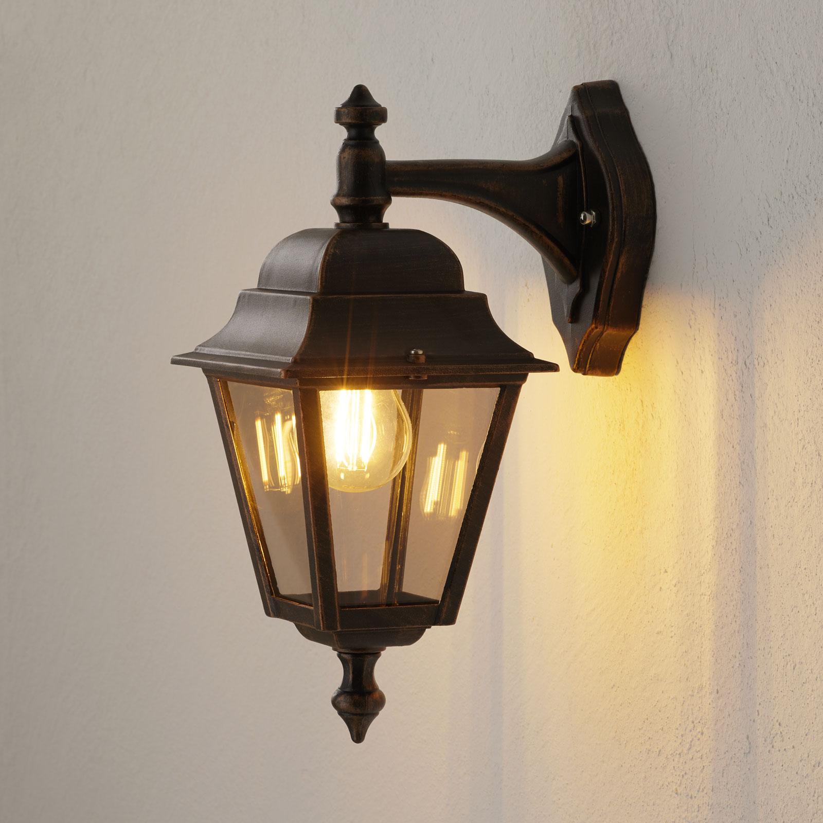 Zewnętrzna lampa ścienna z miedzi Toulouse wisząca