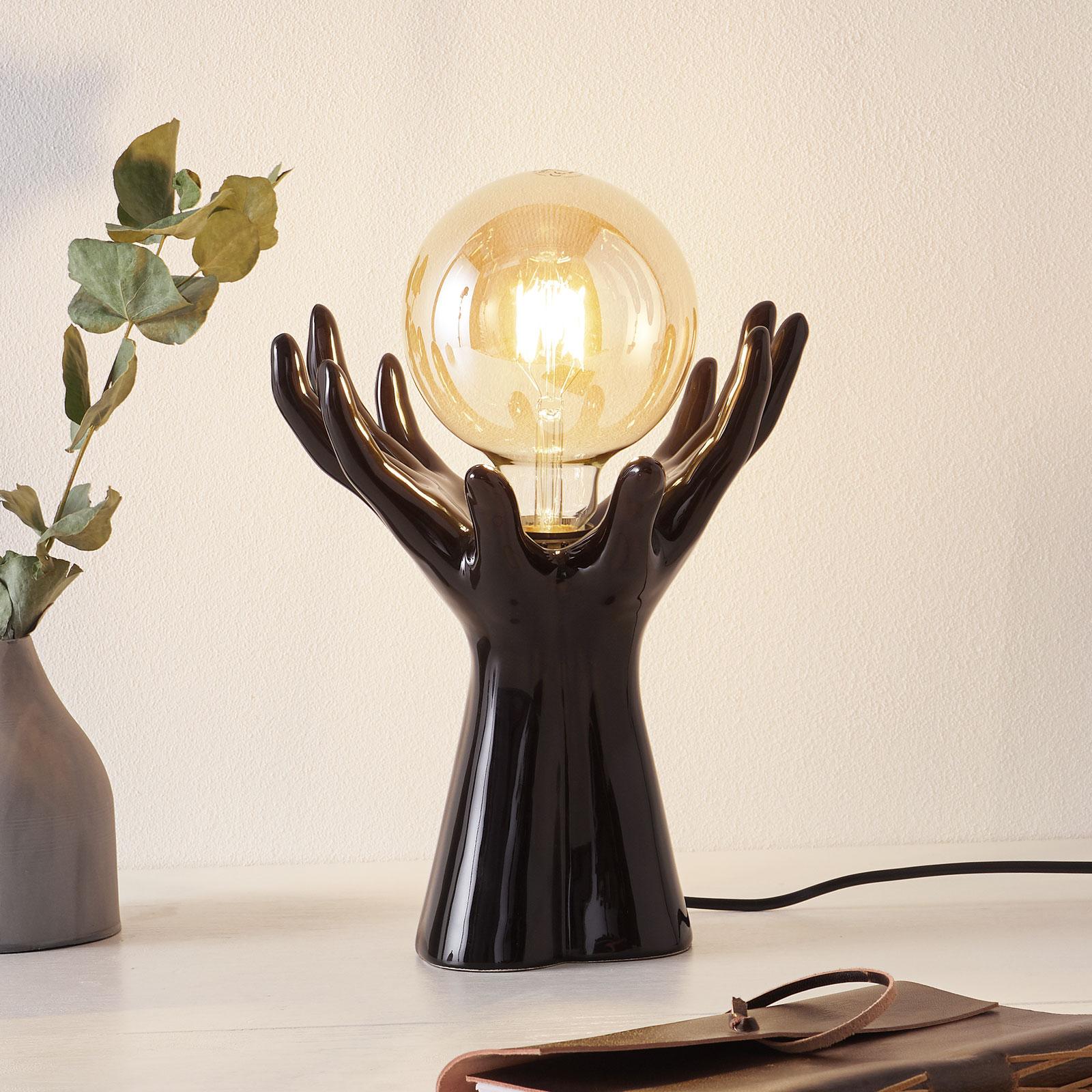 Keramik-Tischleuchte L183 NR, schwarz glänzend