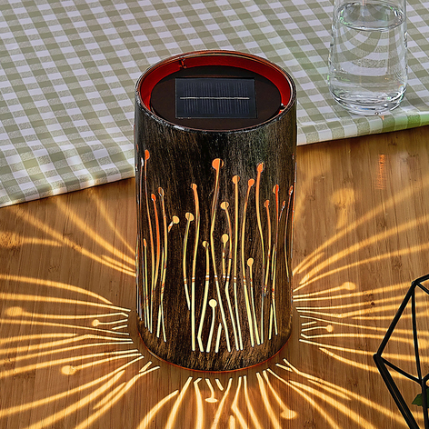 Lampe solaire LED Tamol, cylindrique avec motif