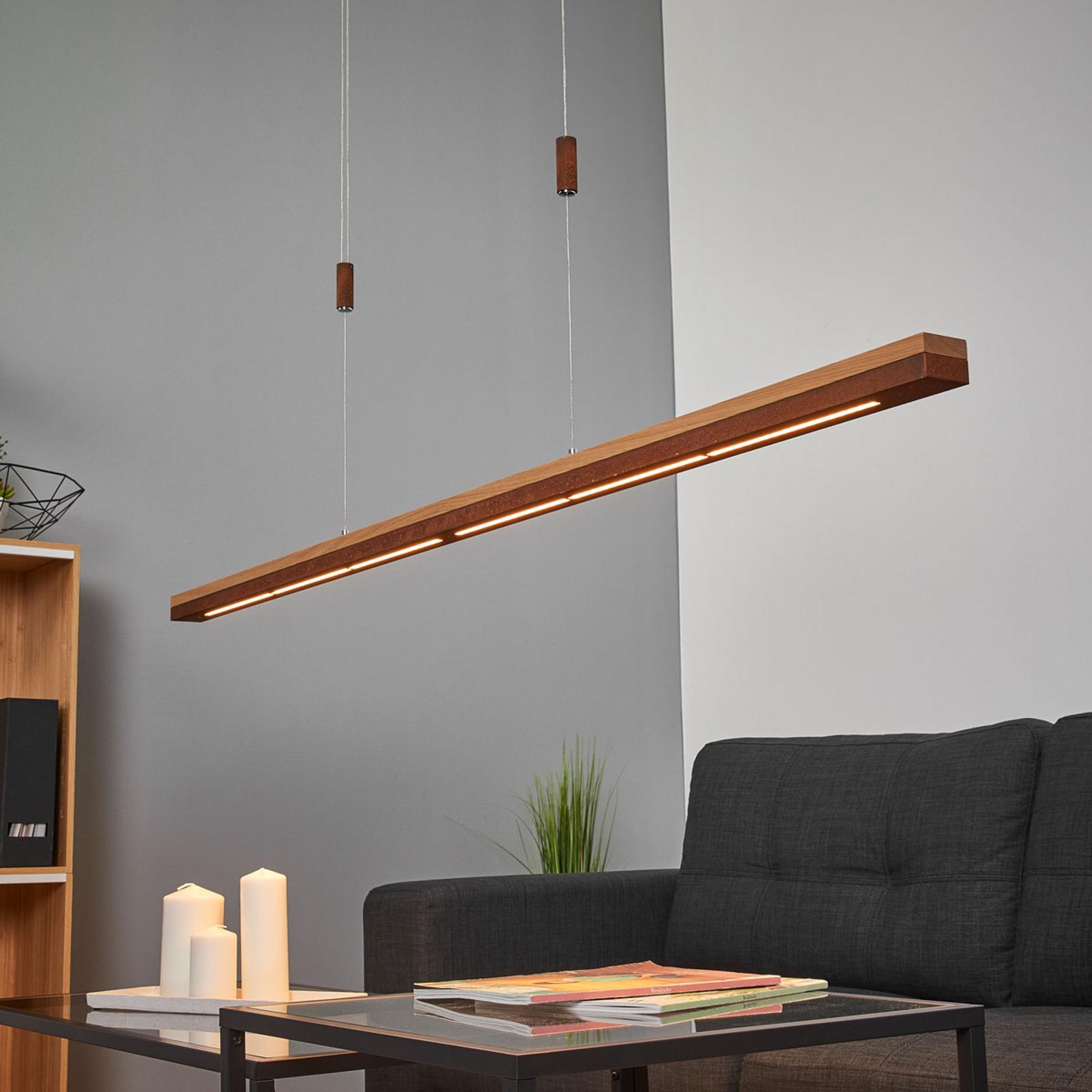 Lampa wisząca LED Elna, 158 cm, rdza i lite drewno