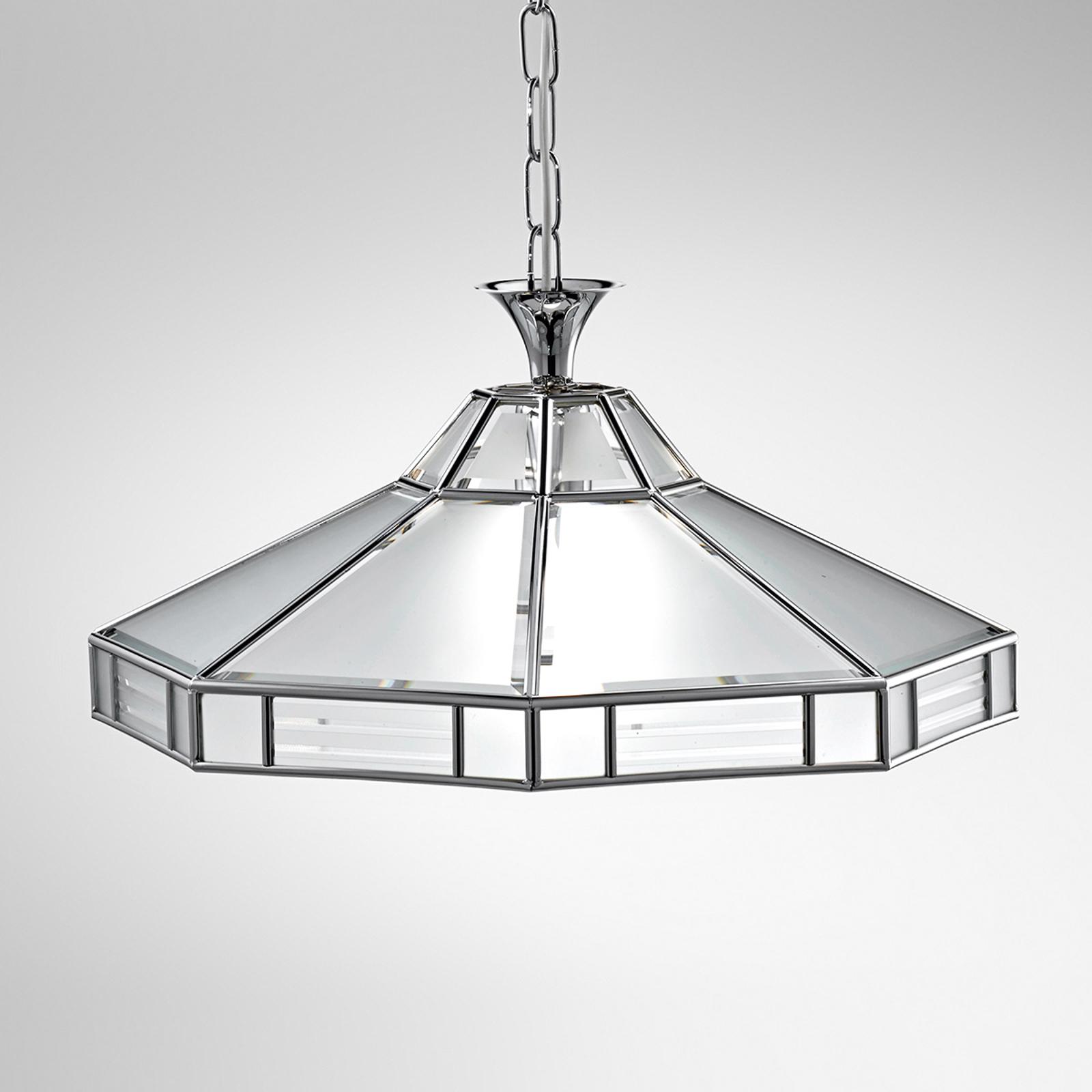 Achthoekige hanglamp Giana, chroom