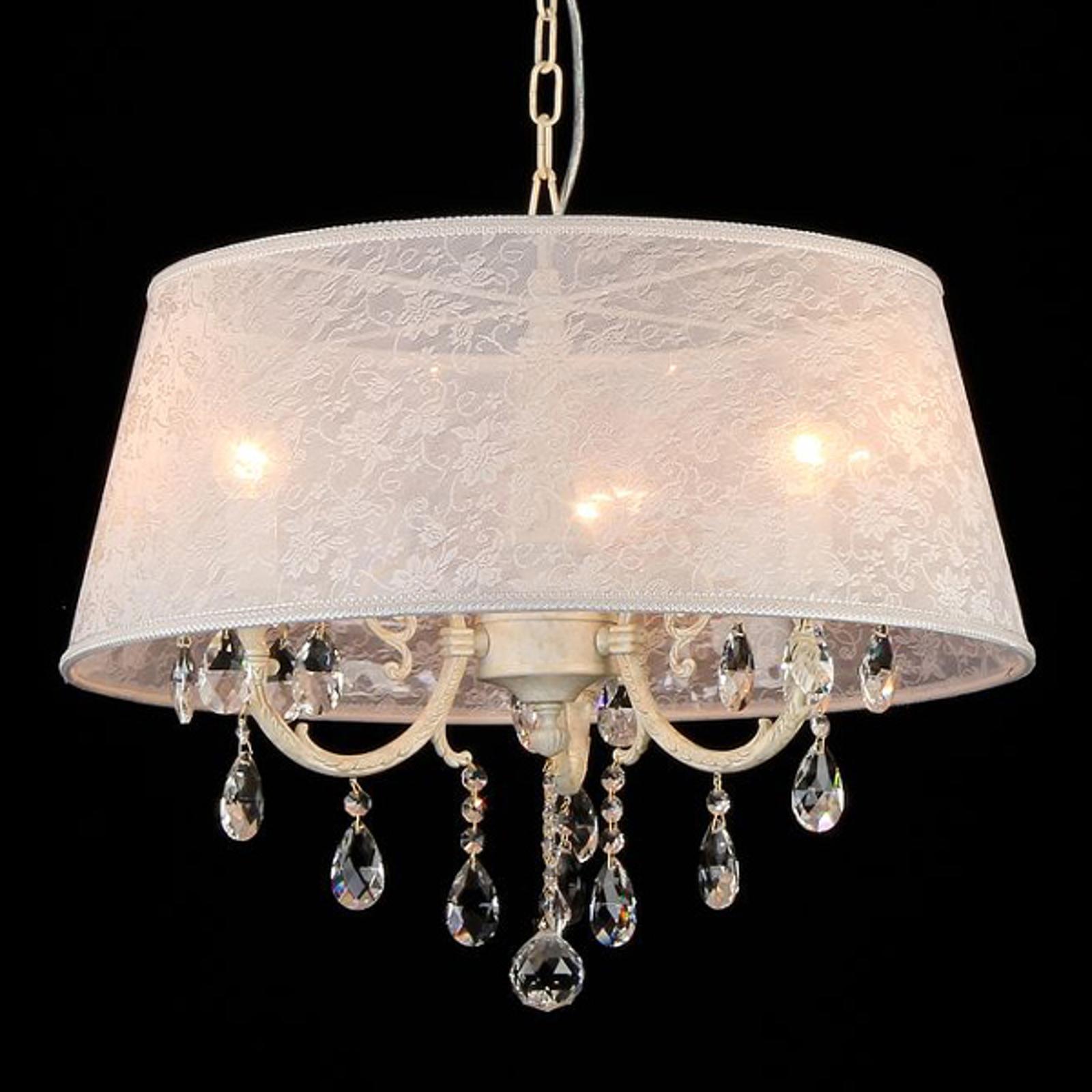 Lampa wisząca Filomena z abażurem z koronki
