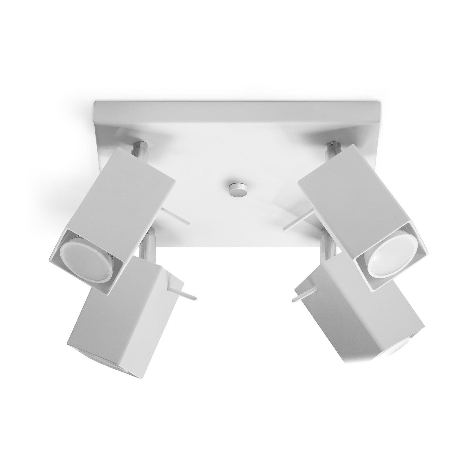 Takspot Square, hvit, 4 lyskilder, firkantet