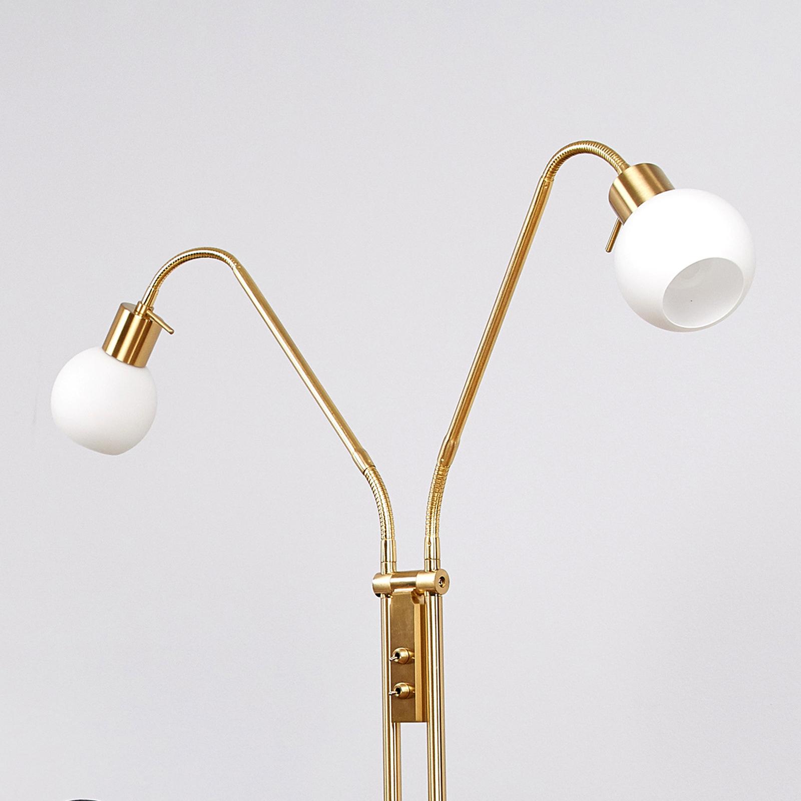 LED-golvlampa Elaina i mässing, 2 ljuskällor