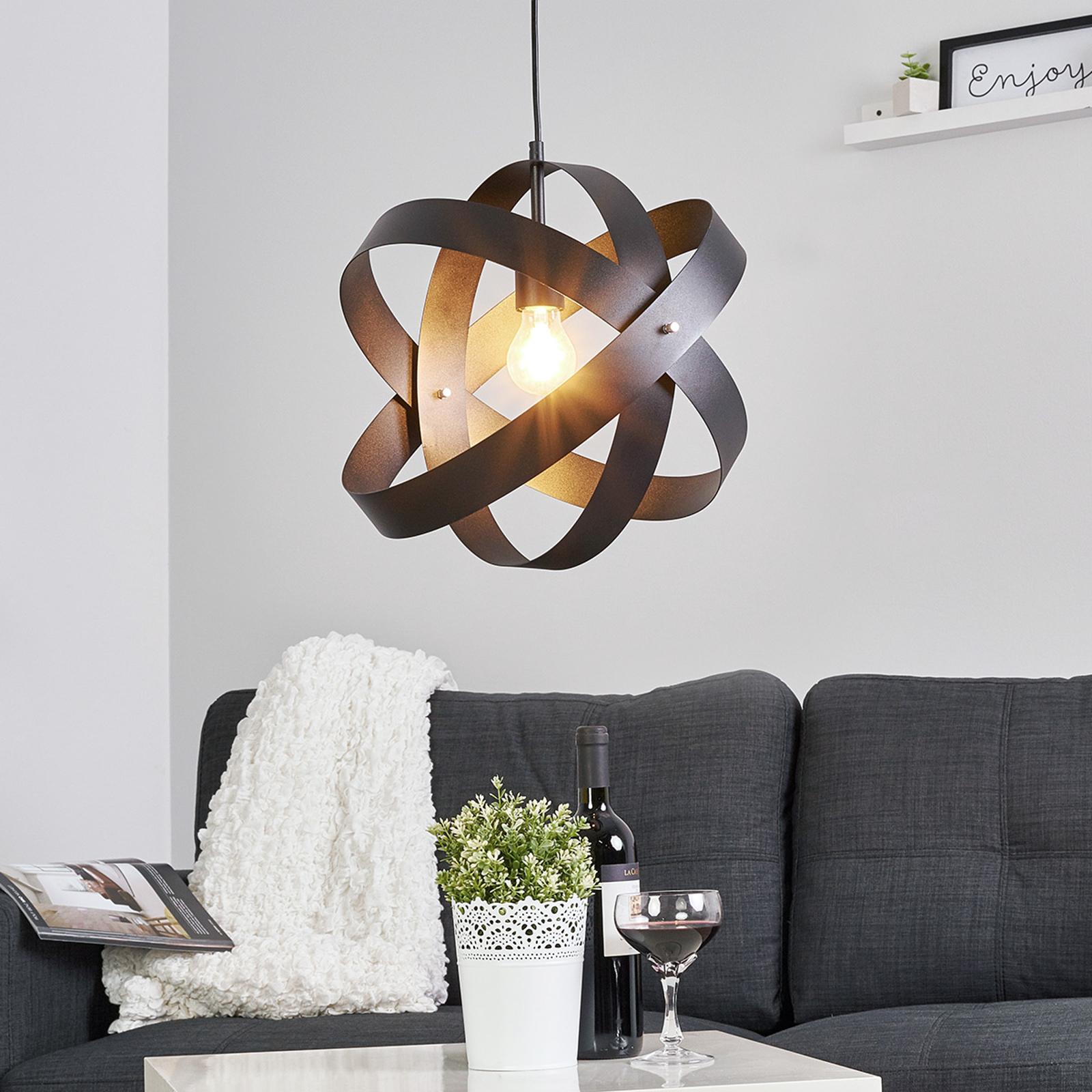 Czarna lampa wisząca LED CARA z 3 pierścieniami