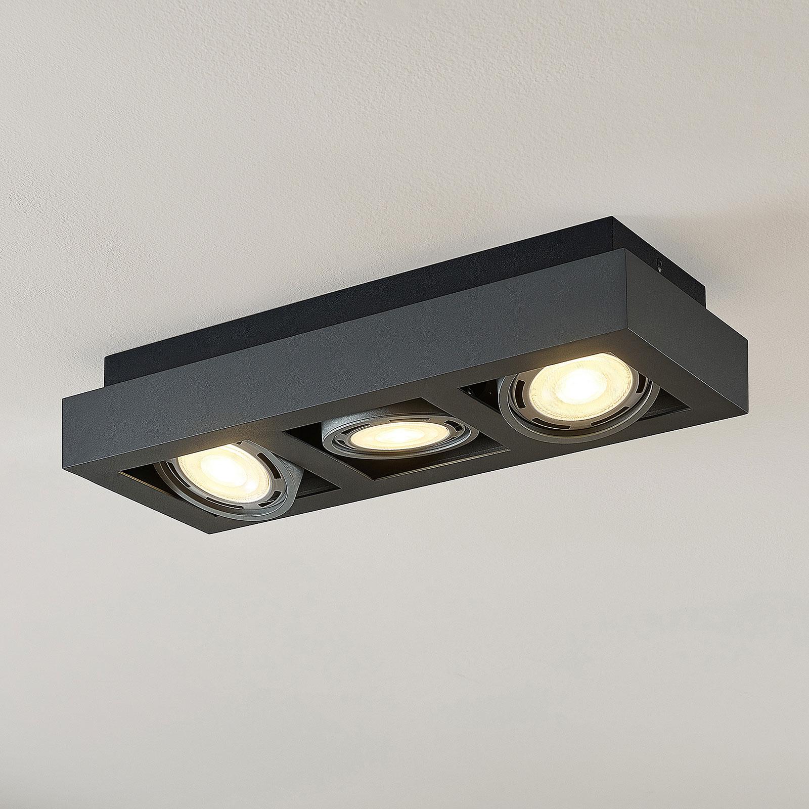 LED loftspot Ronka, GU10, 3 lyskilder, mørkegrå