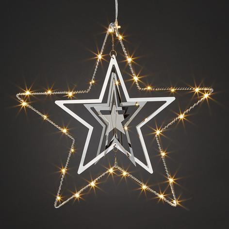 Tredimensjonal metallstjerne med LED