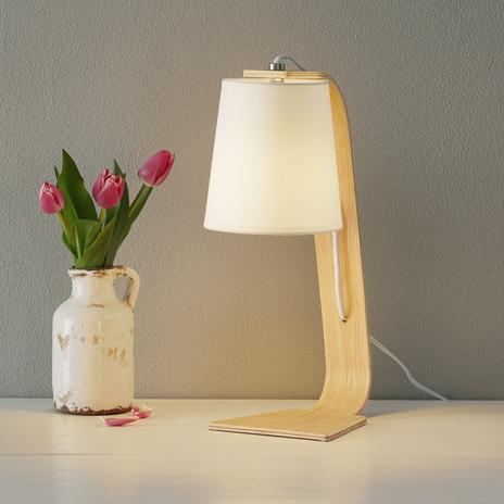 Drewniana lampa stojąca NORDIC z białym abażurem
