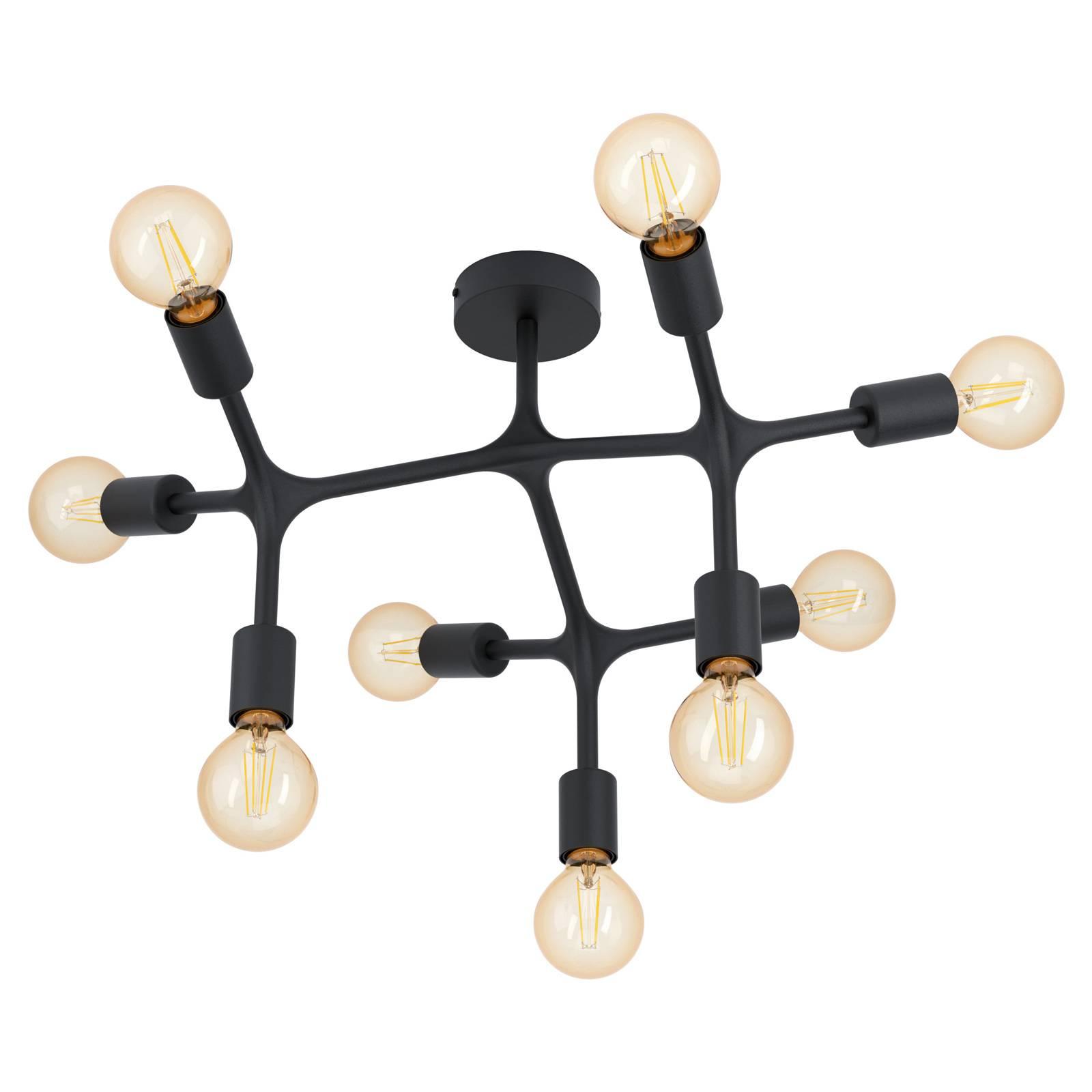 Plafonnier Bocadella 1 en noir, à 9 lampes