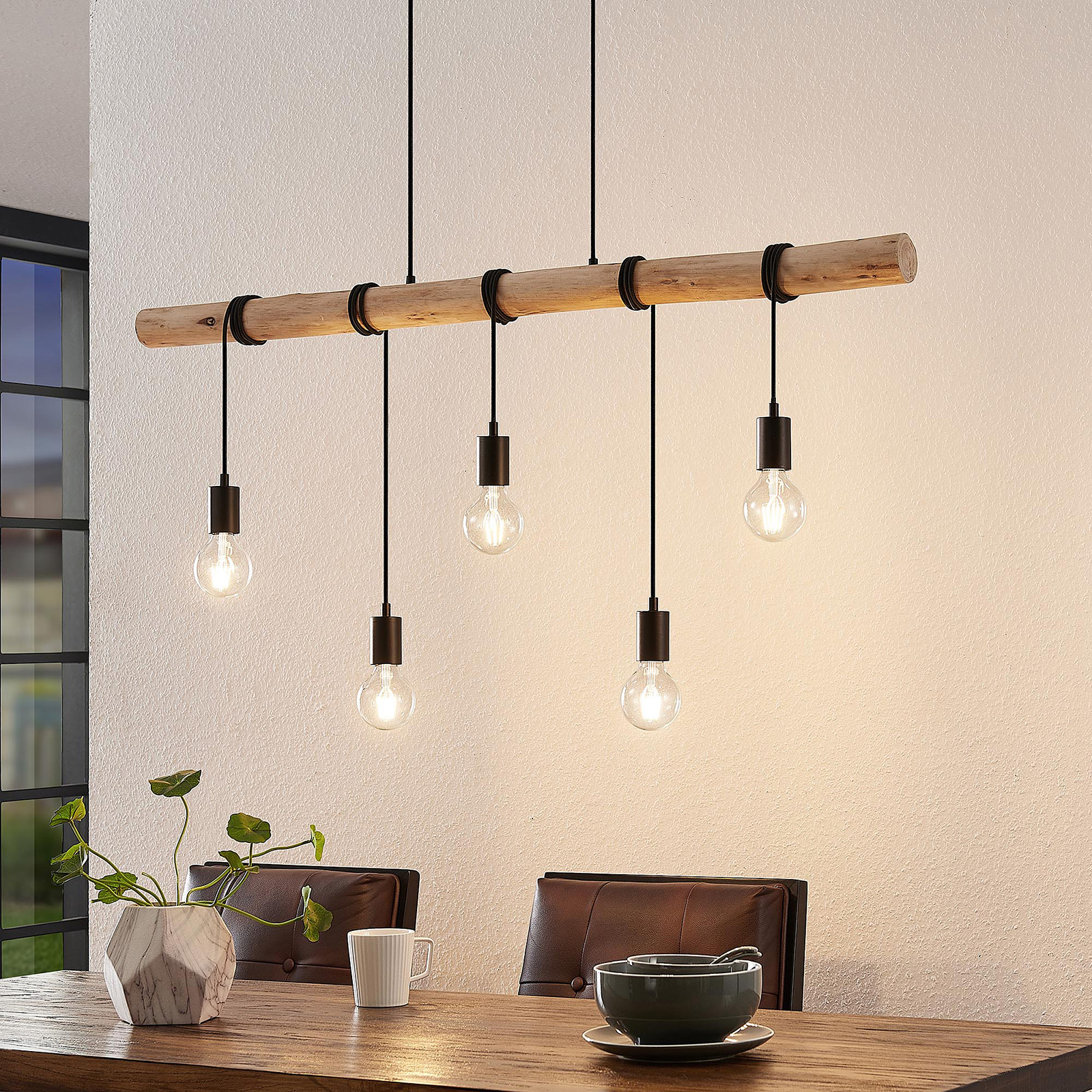 Lindby Rom hänglampa med träskenor, 5 lampor