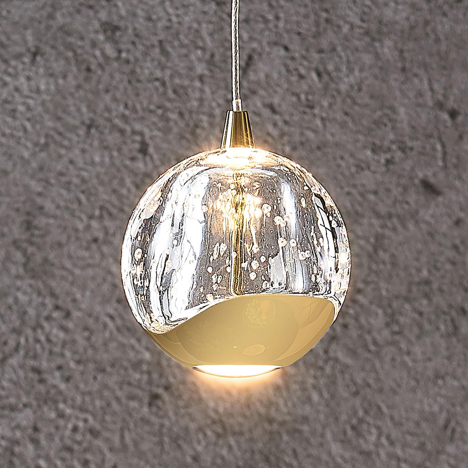 LED-Pendellampe Hayley mit Glaskugel, 1-fl., gold