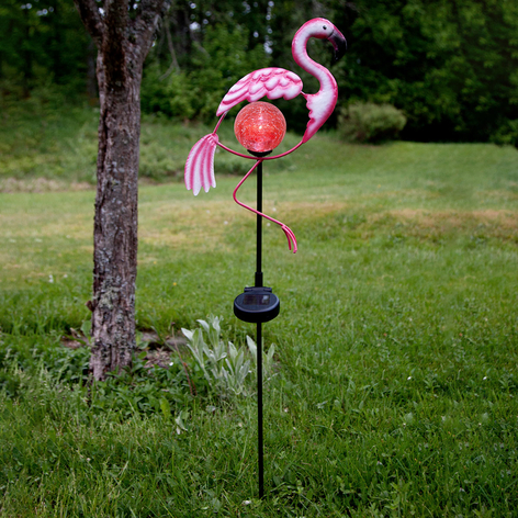 LED-Erdspießleuchte Flamingo mit Solarmodul