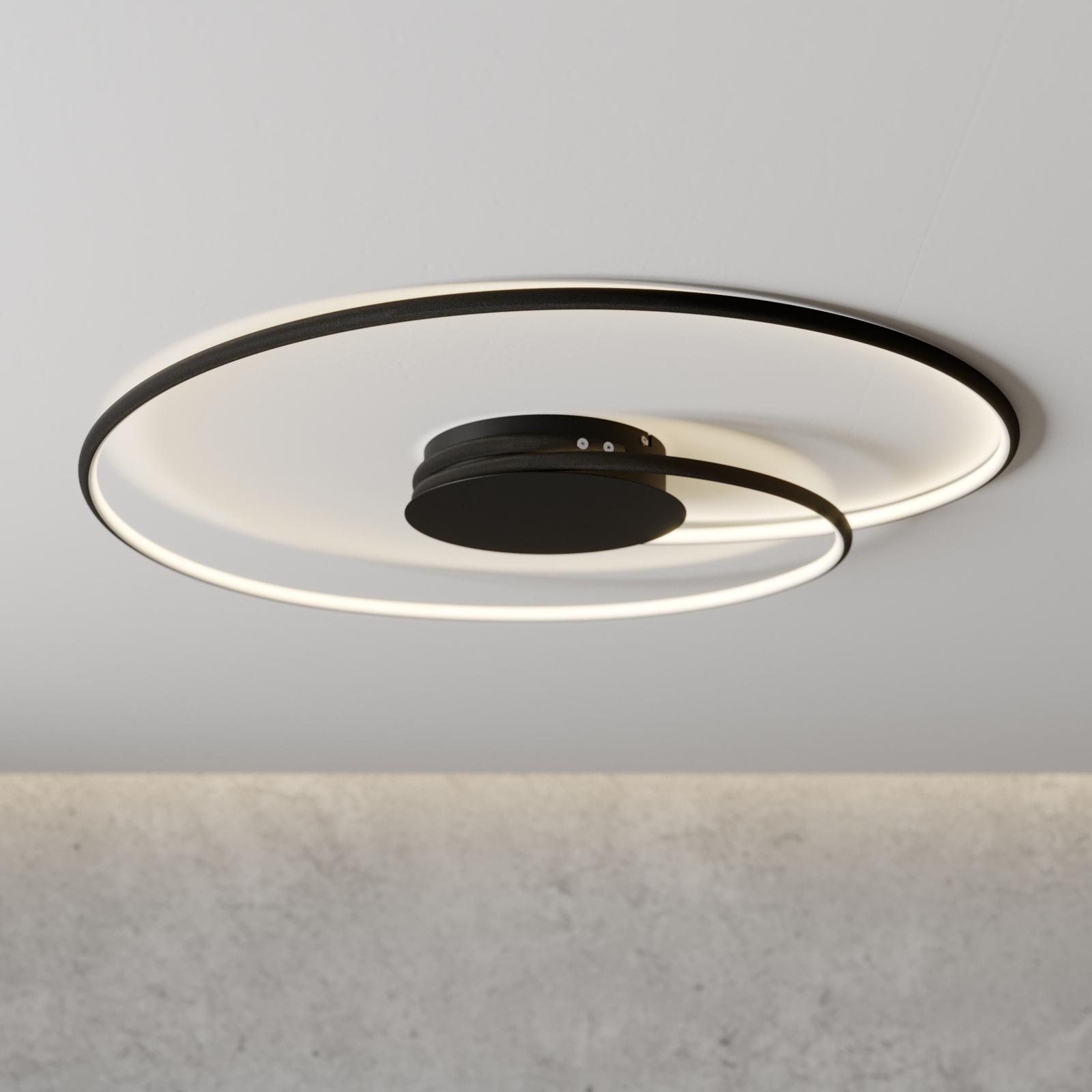Lindby Joline LED-Deckenleuchte, schwarz, 70 cm