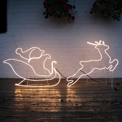 Slæde med julemand - silhuet NeoLED