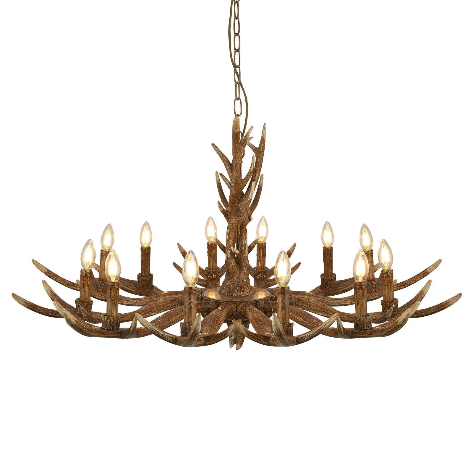 Ljuskrona Stag i hornform, 12 lampor