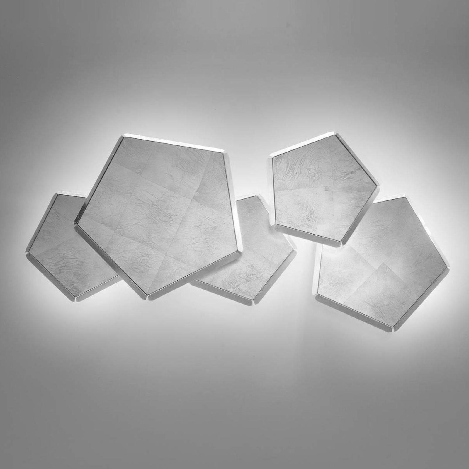 Applique LED Pleiadi à feuille d'argent, 5 lampes