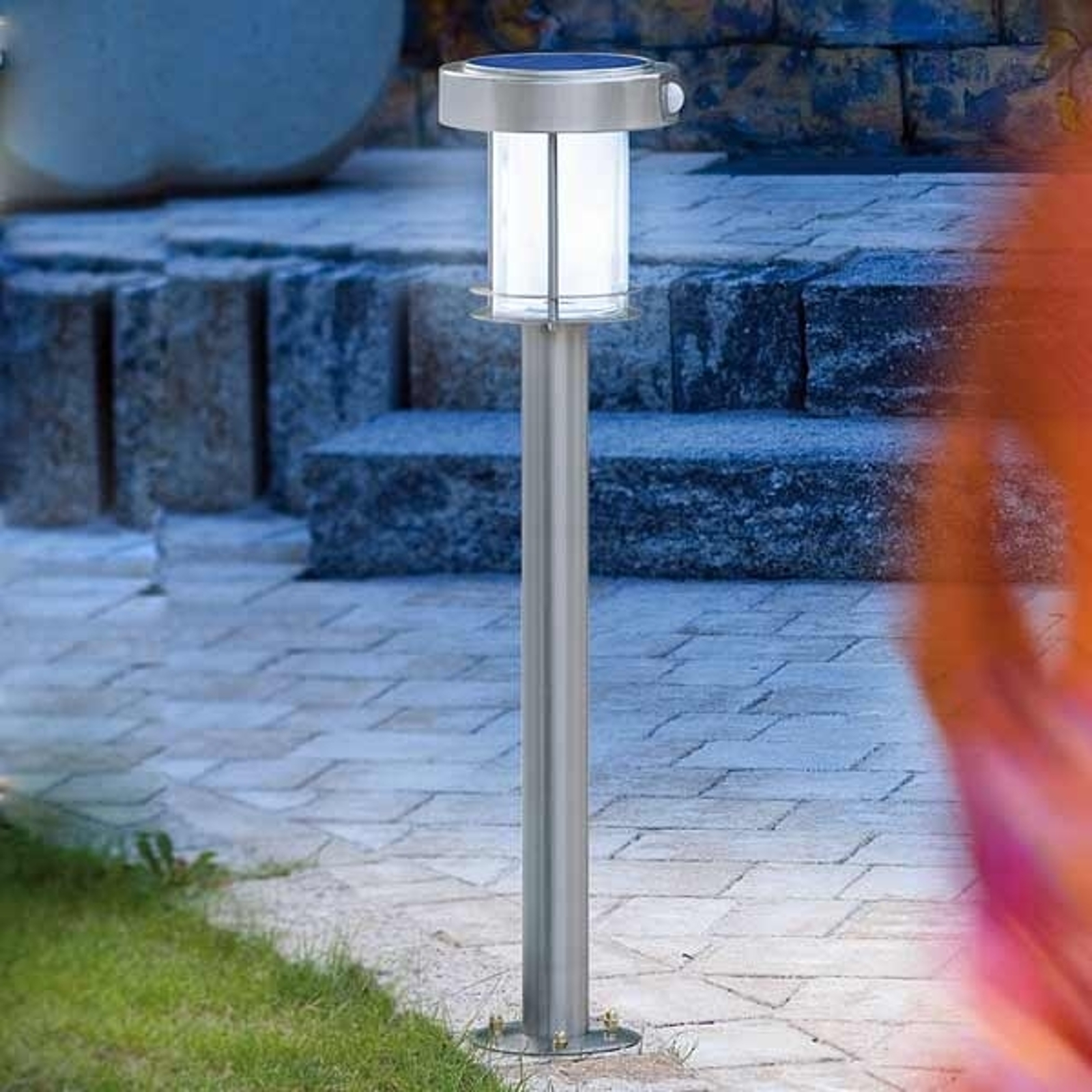 Lámpara LED solar Ancona de acero inoxidable