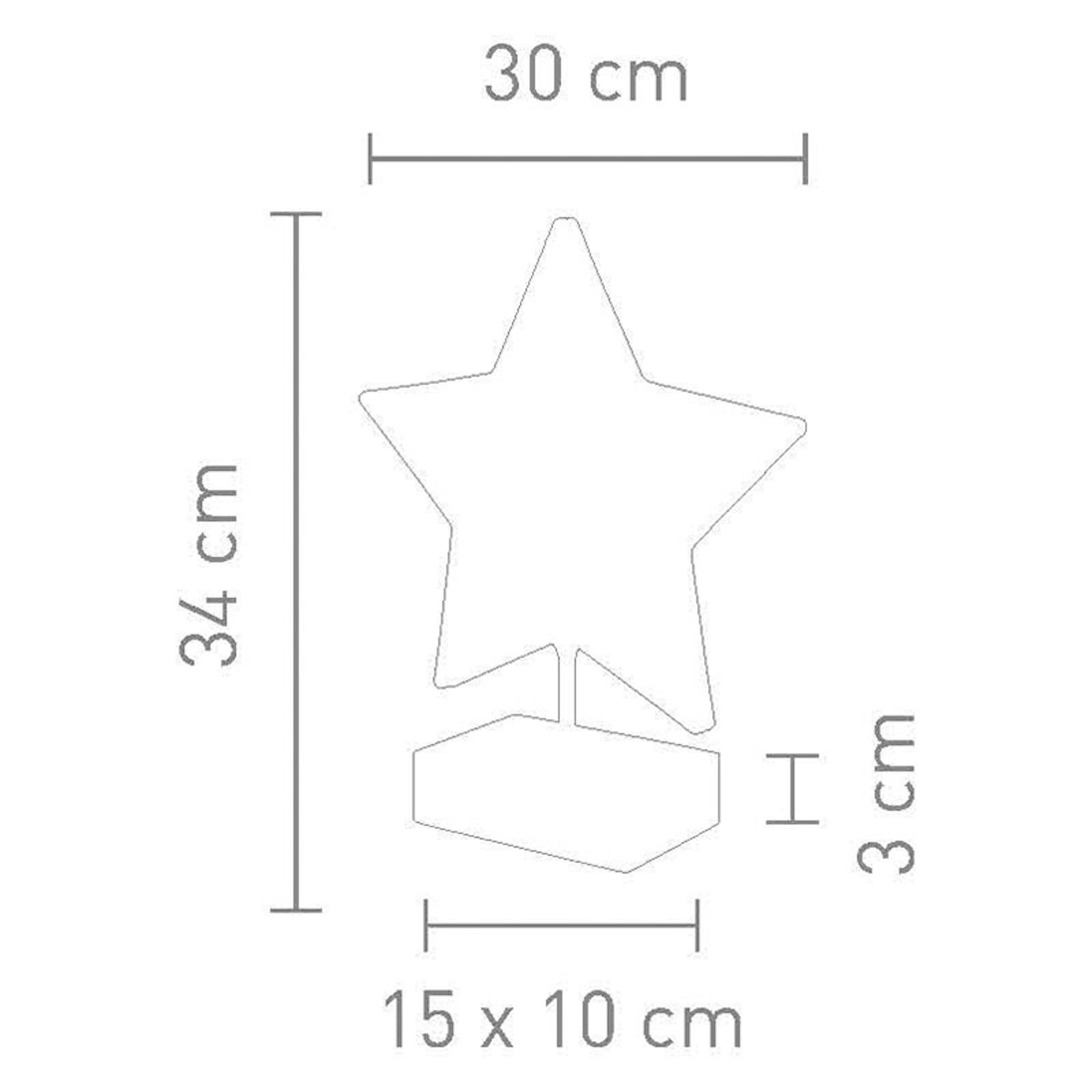 Tafellamp Stella in stervorm hoogte 34 cm, rood