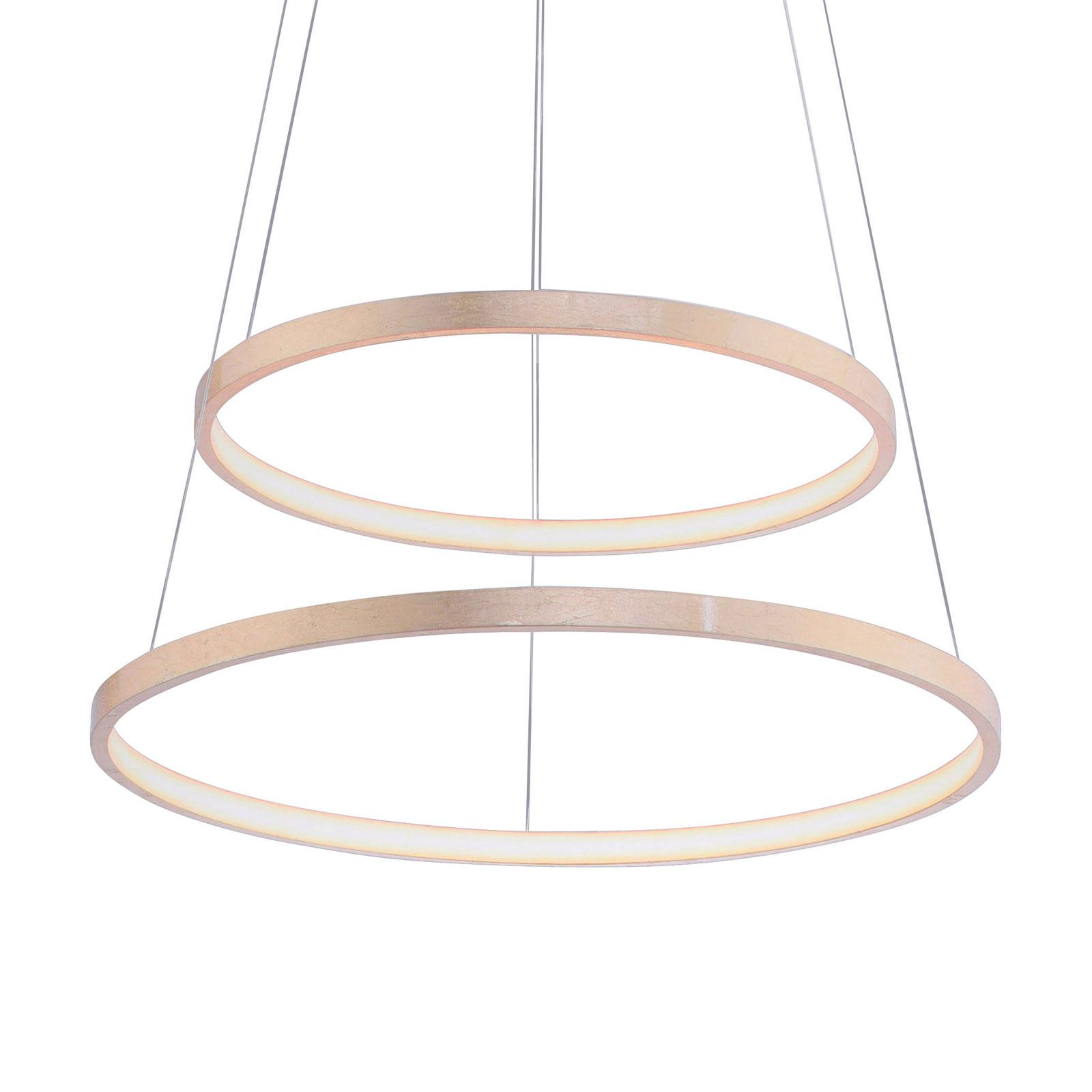 Circle LED-hengelampe gull, 2 lyskilder