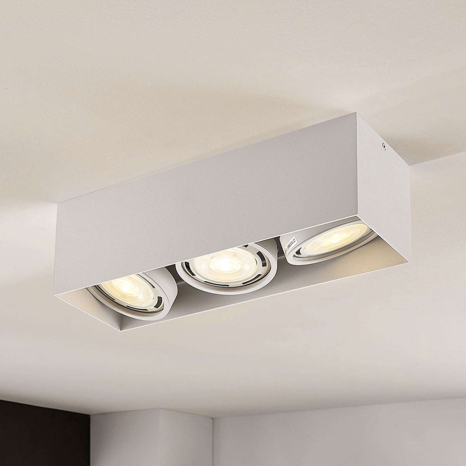 Downlight LED Rosalie à 3 lampes, angulaire, blanc