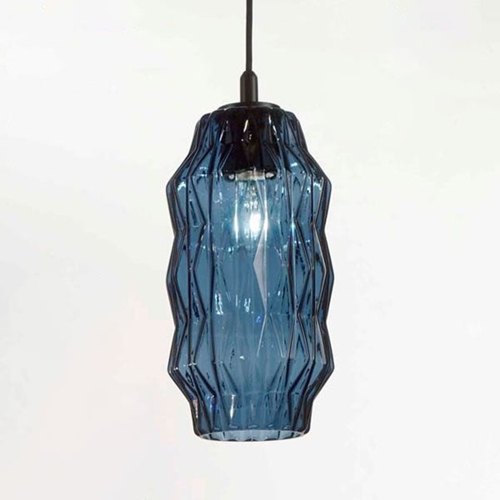 Hanglamp origami van glas, blauw