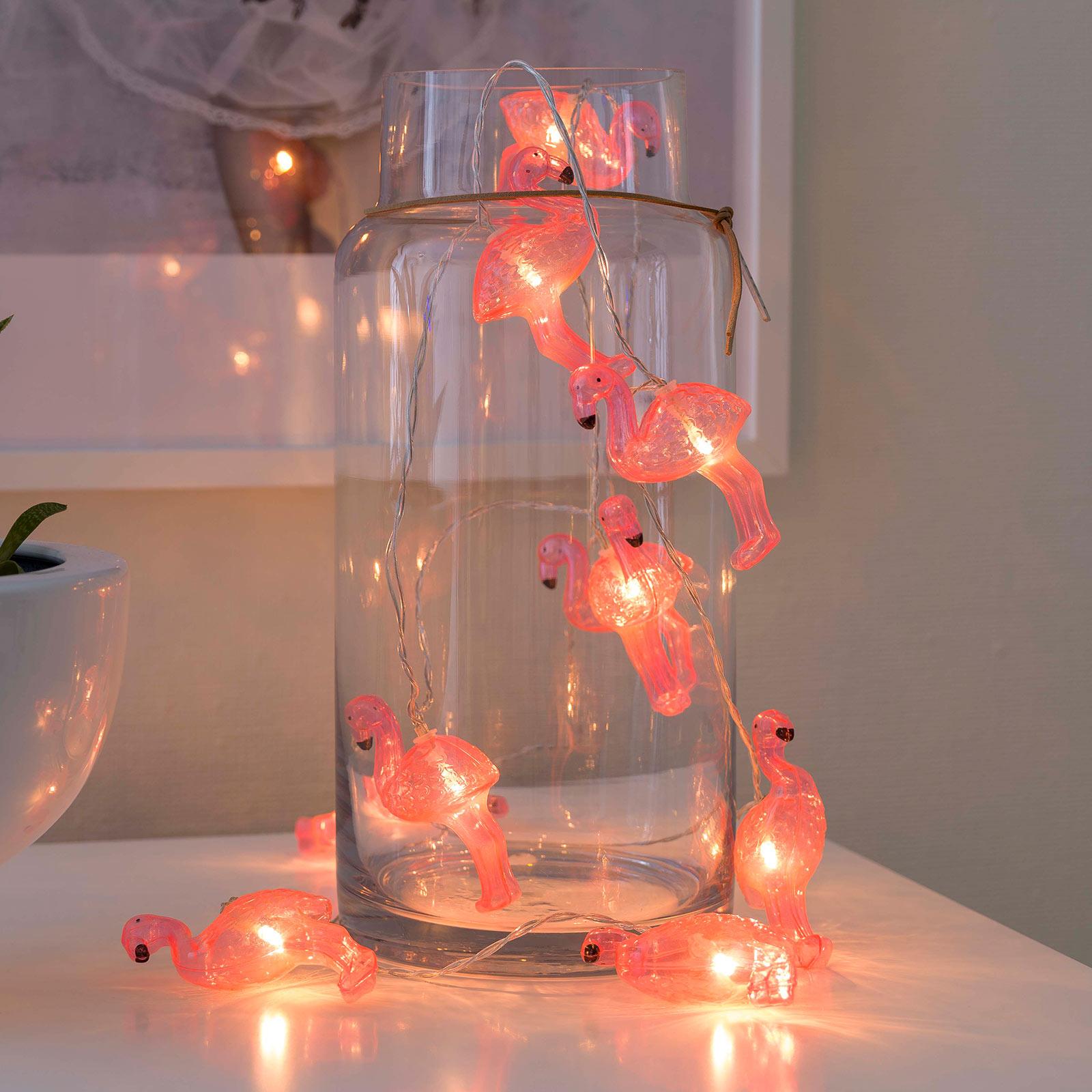 Flamingoer LED-lyslenke, batteridrevet