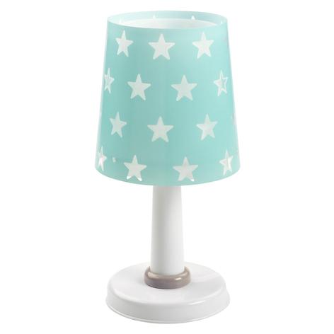 Turkosfärgad bordslampa Stars med lyseffekt
