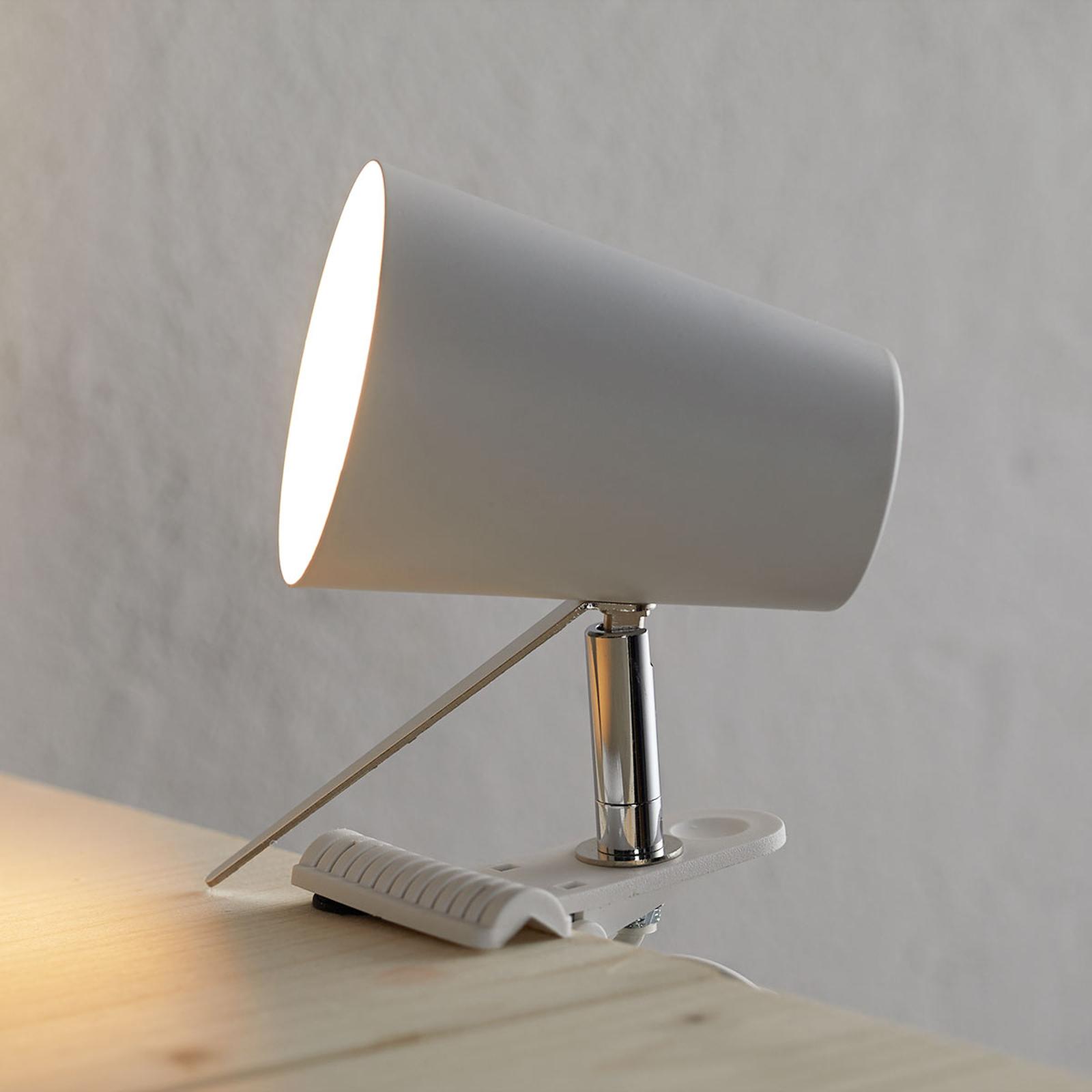 Nowoczesna biała lampa Clampspots z klipsem