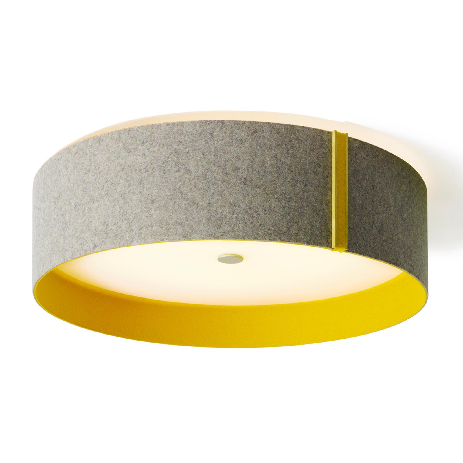 Taklampe Lara felt av filt, LED, grå-curry