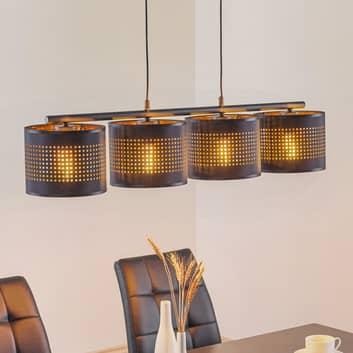 Tago hængelampe, 4 lyskilder, sort/guld