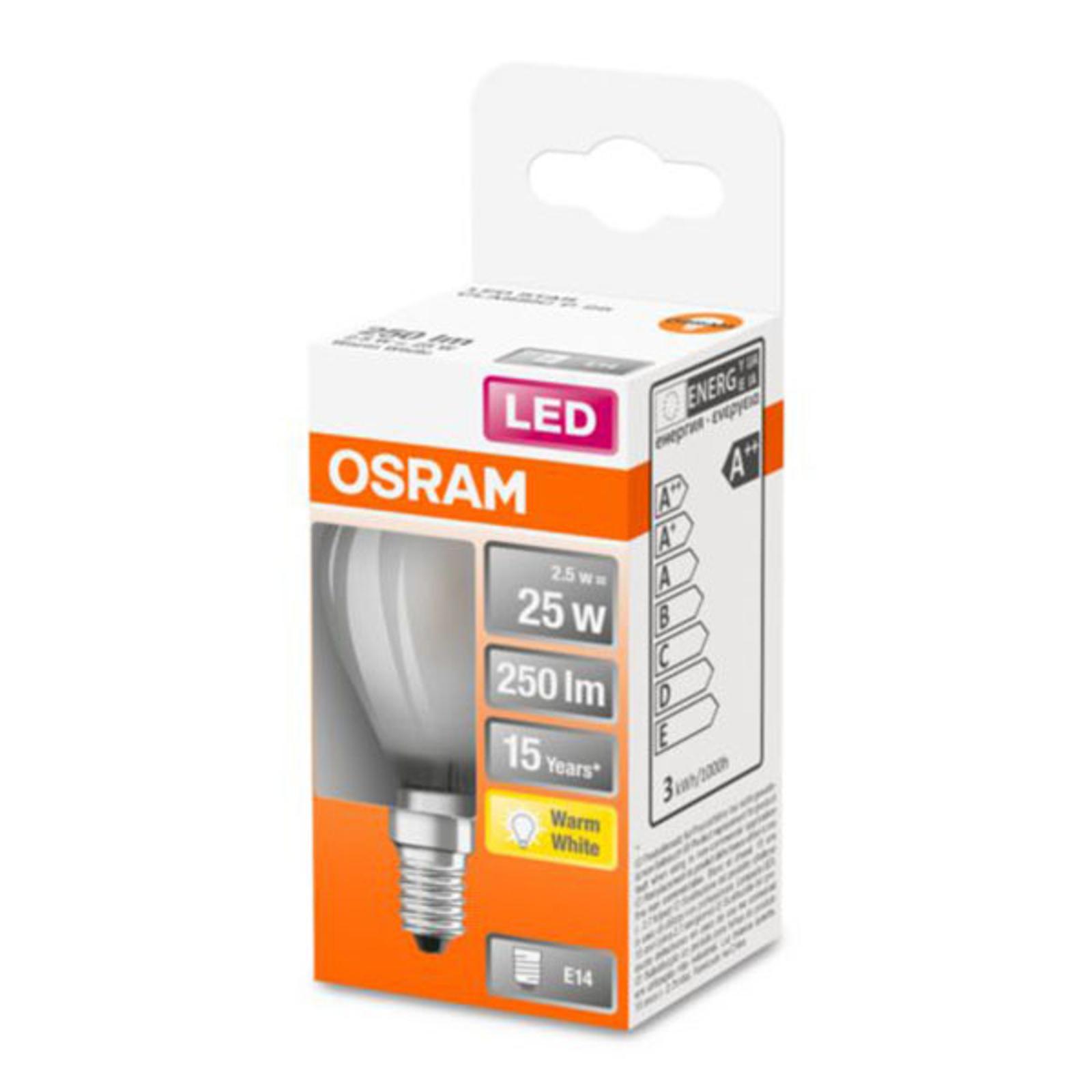 OSRAM Classic P LED E14 2,5W 2.700K satinata