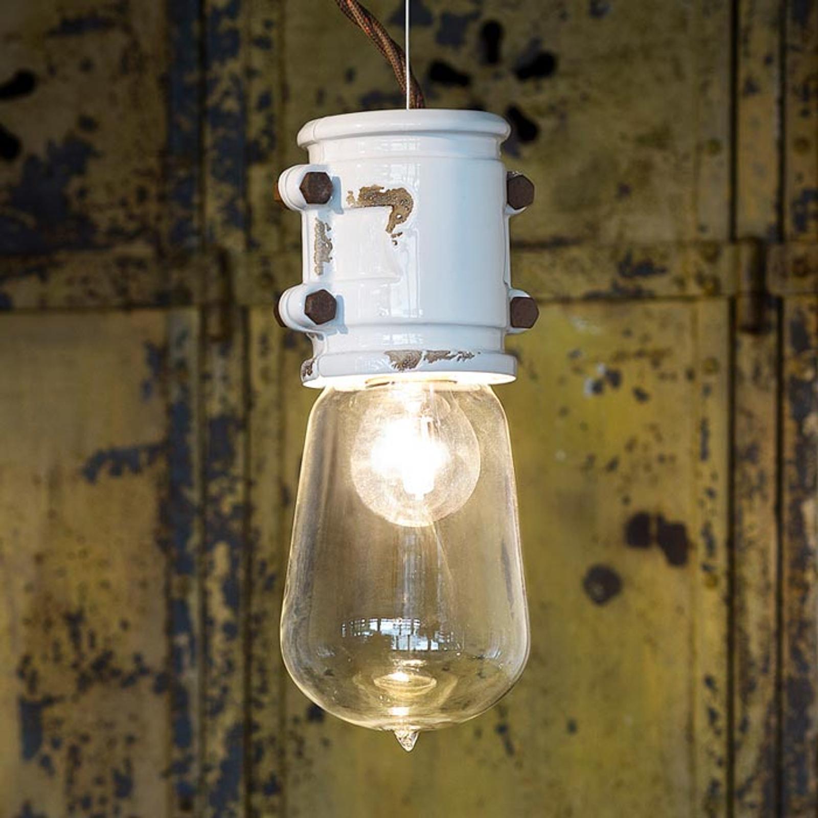 Witte hanglamp Nicolo in gereduceerd ontwerp