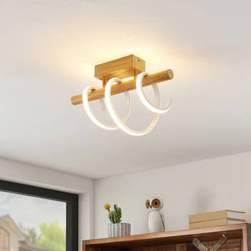 Lucande Milora LED plafondlamp 40 cm, eiken