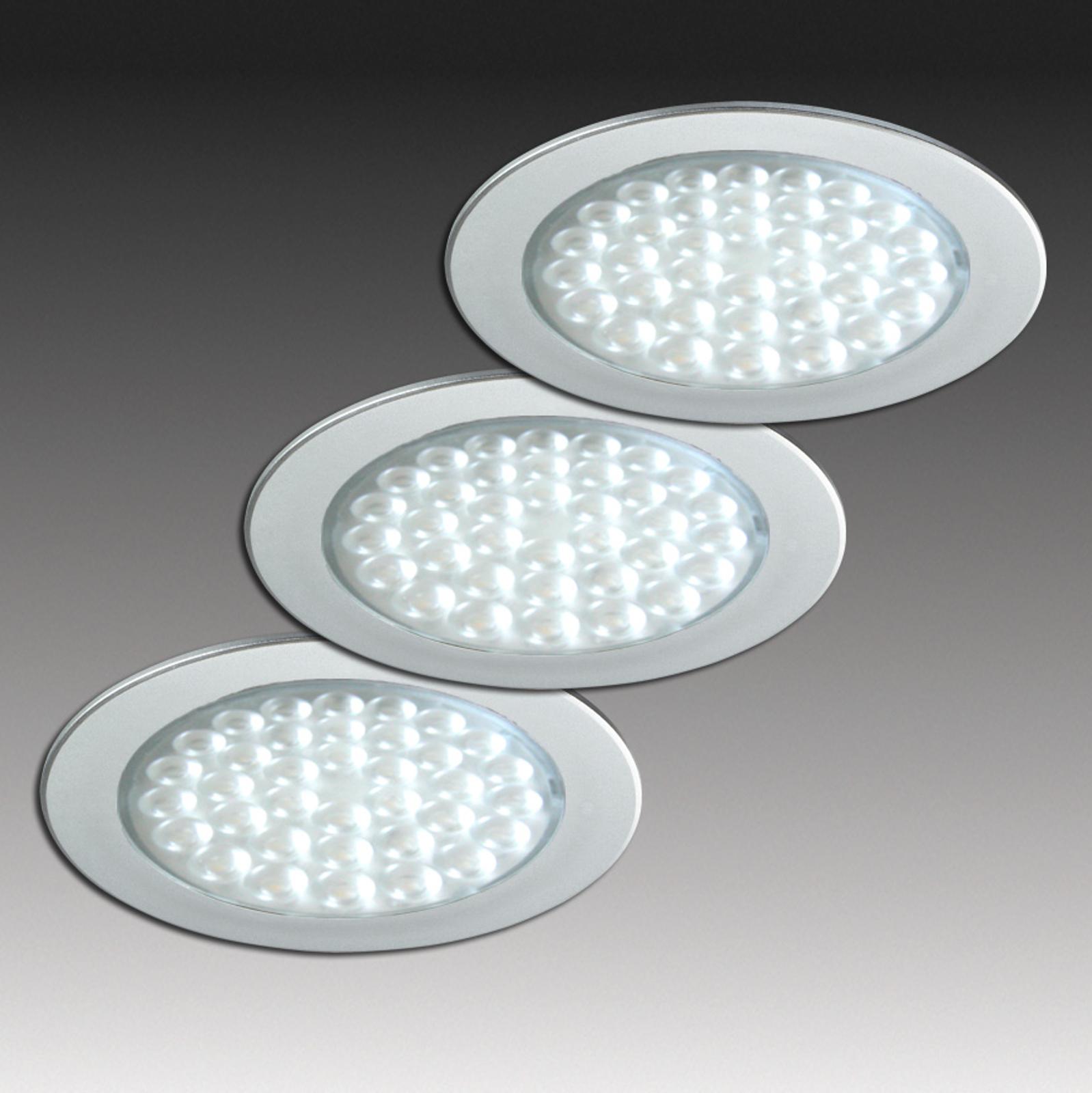 R 68-LED indbyggelig spot i ædelståloptik, 3 stk.